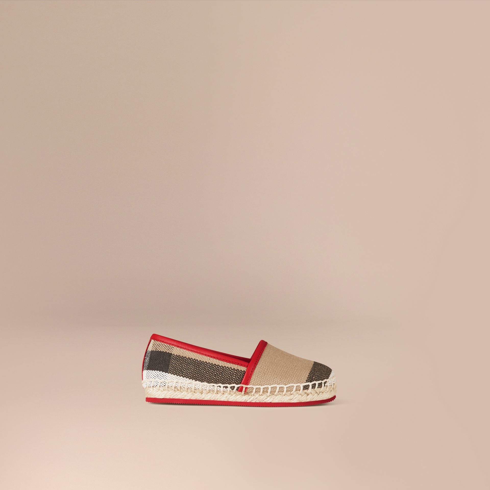 Military red Canvas Check Espadrilles - gallery image 1