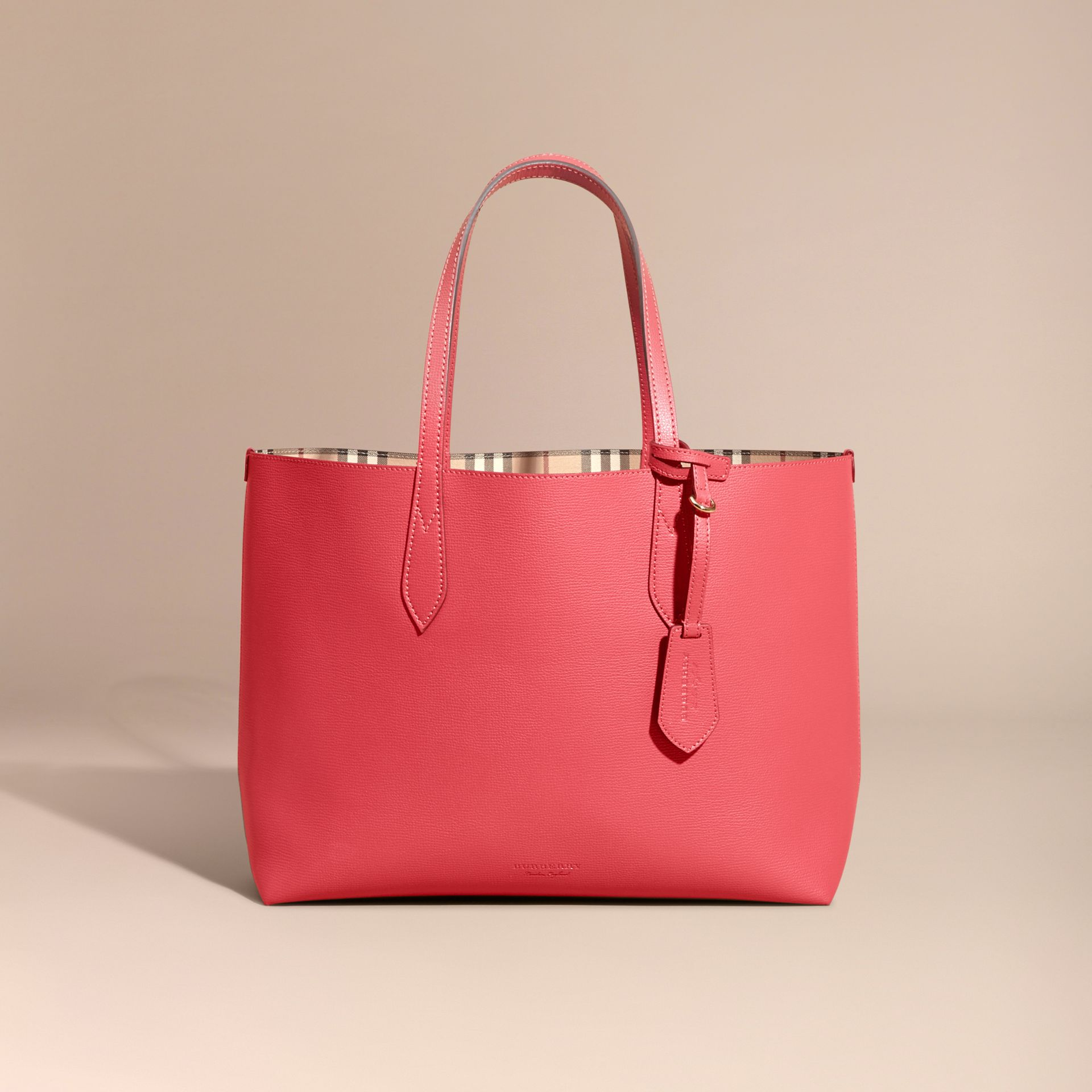 The Medium Reversible Tote in Haymarket Check and Leather Coral Red - gallery image 8