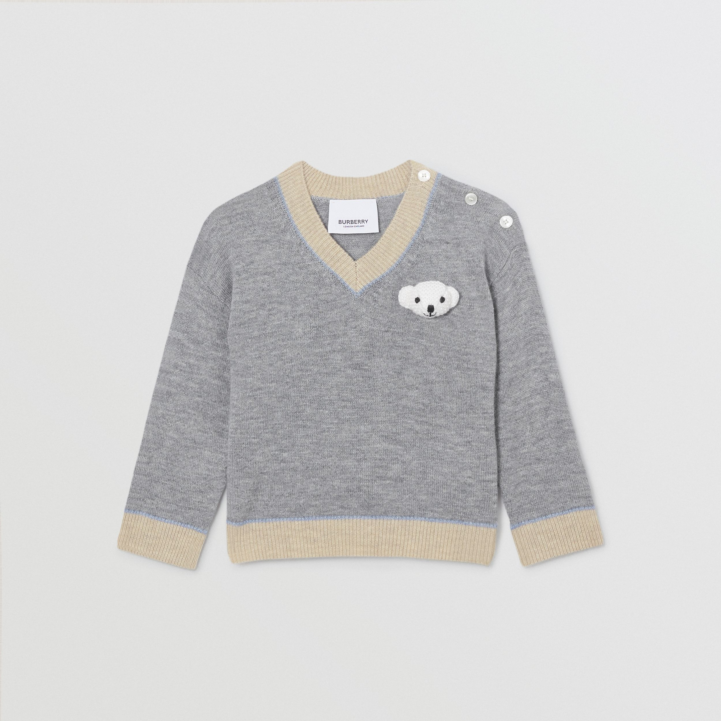 Thomas Bear Detail Wool Cashmere Sweater in Grey Melange - Children | Burberry - 1