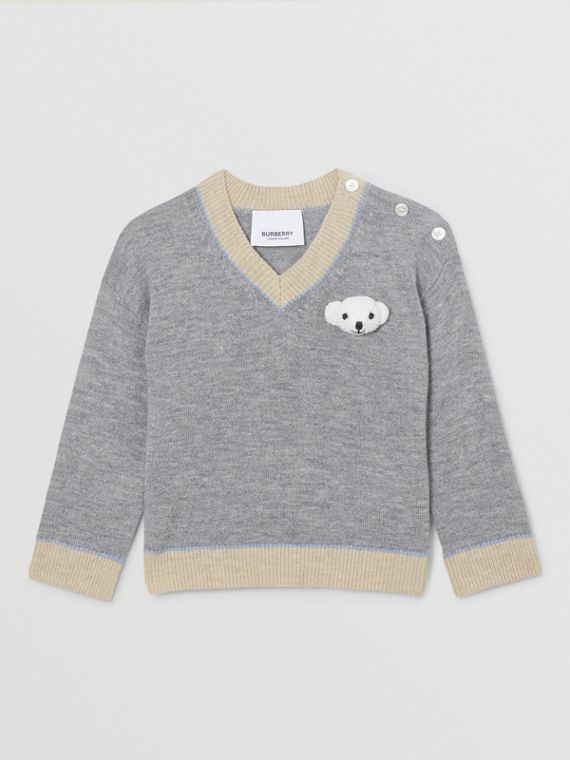 Thomas Bear Detail Wool Cashmere Sweater in Grey Melange