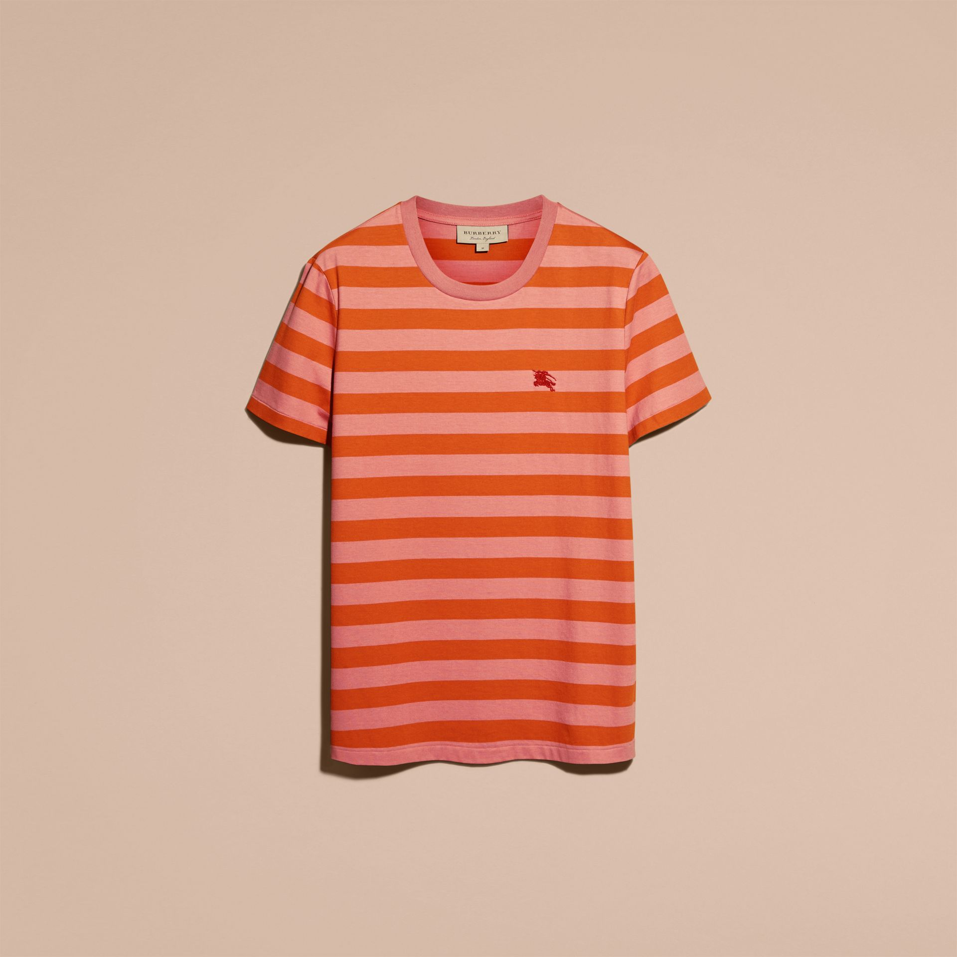 Striped Cotton T-Shirt Orange/rose Pink - gallery image 4