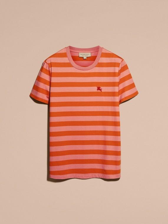 Striped Cotton T-Shirt Orange/rose Pink - cell image 3