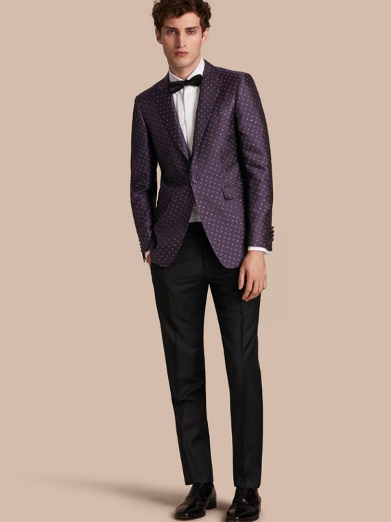 Slim Fit Geometric Silk Jacquard Tailored Jacket
