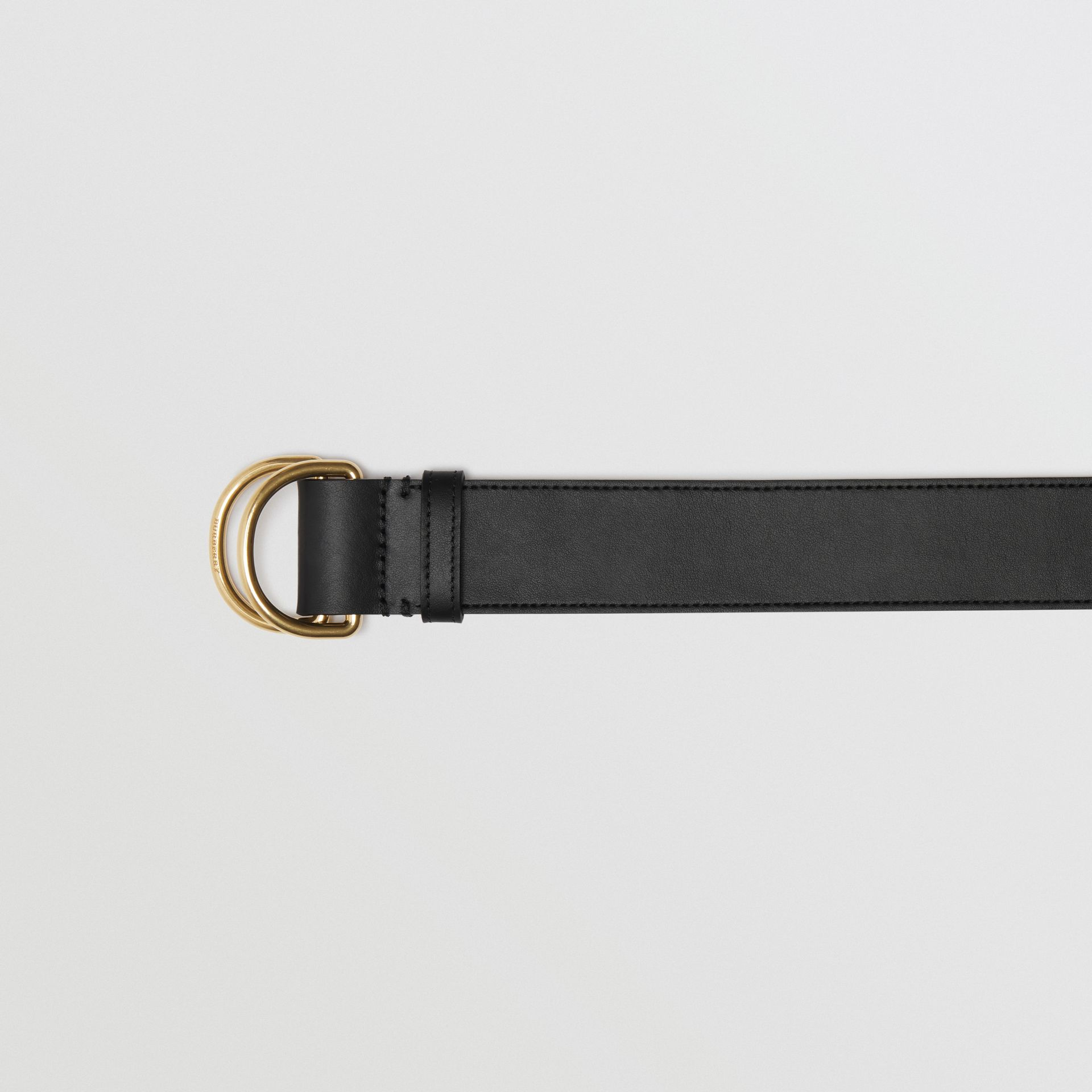 Leather Double D-ring Belt in Black/lemon Quartz - Women | Burberry - gallery image 1