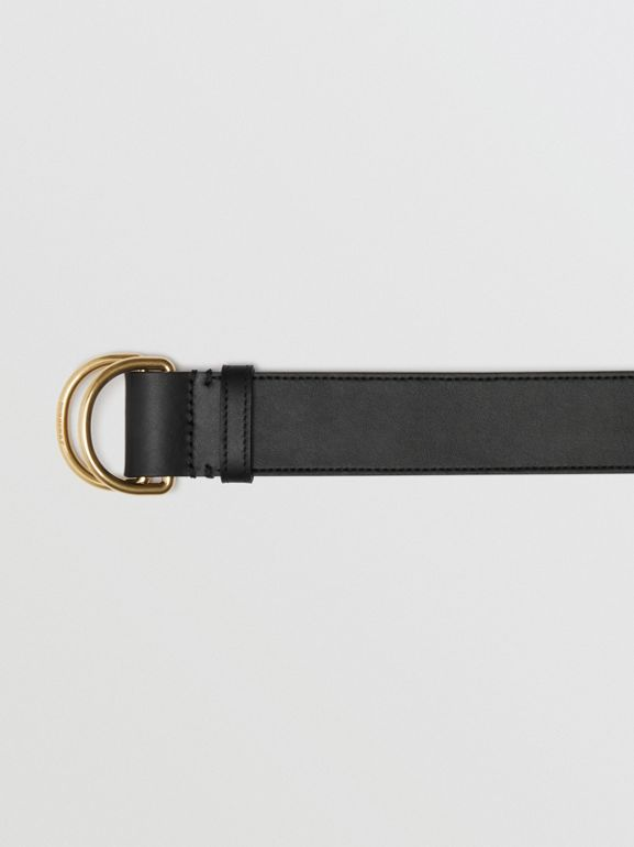 Leather Double D-ring Belt in Black/lemon Quartz - Women | Burberry - cell image 1