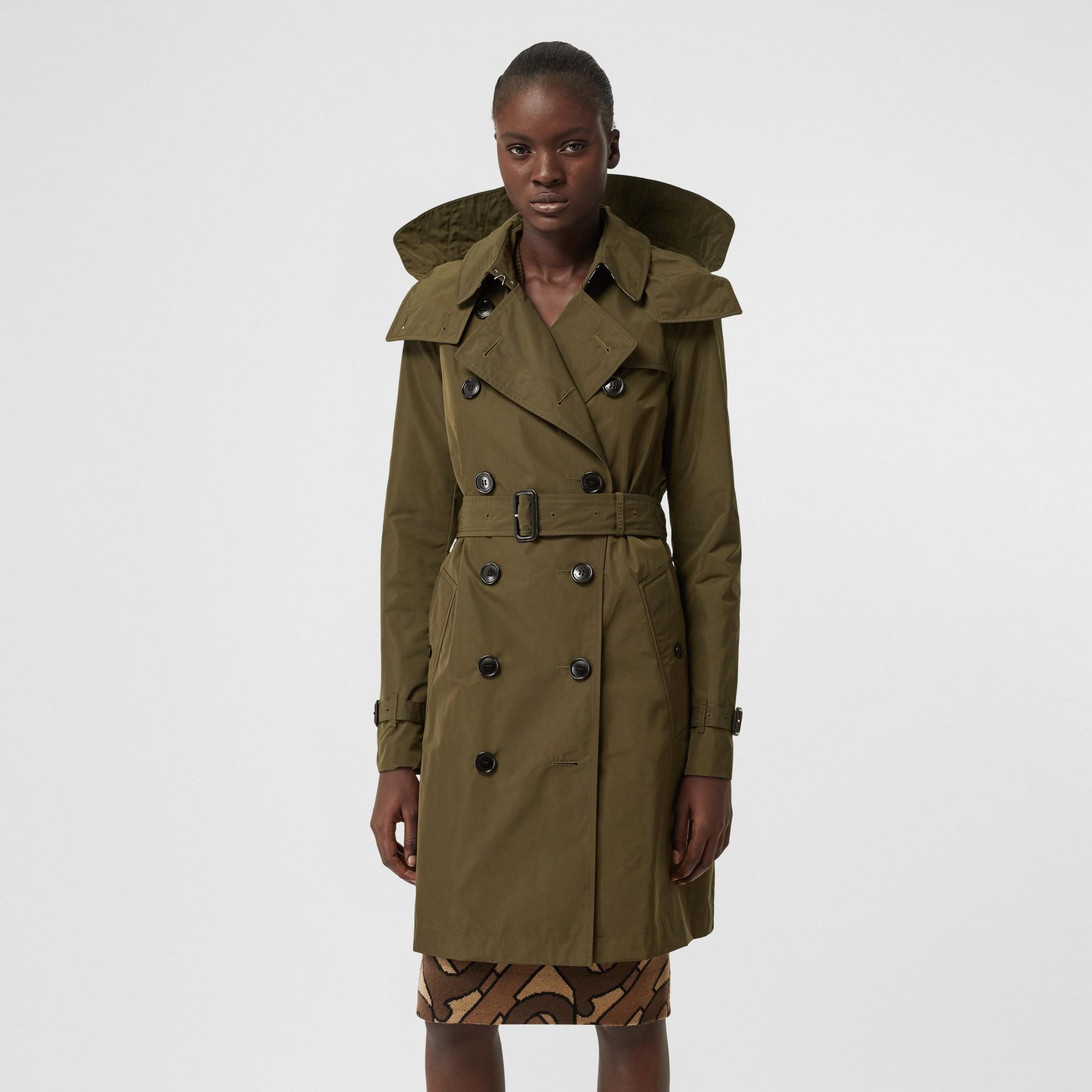Detachable Hood Shape-memory Taffeta Trench Coat in Khaki - Women   Burberry United Kingdom - gallery image 6