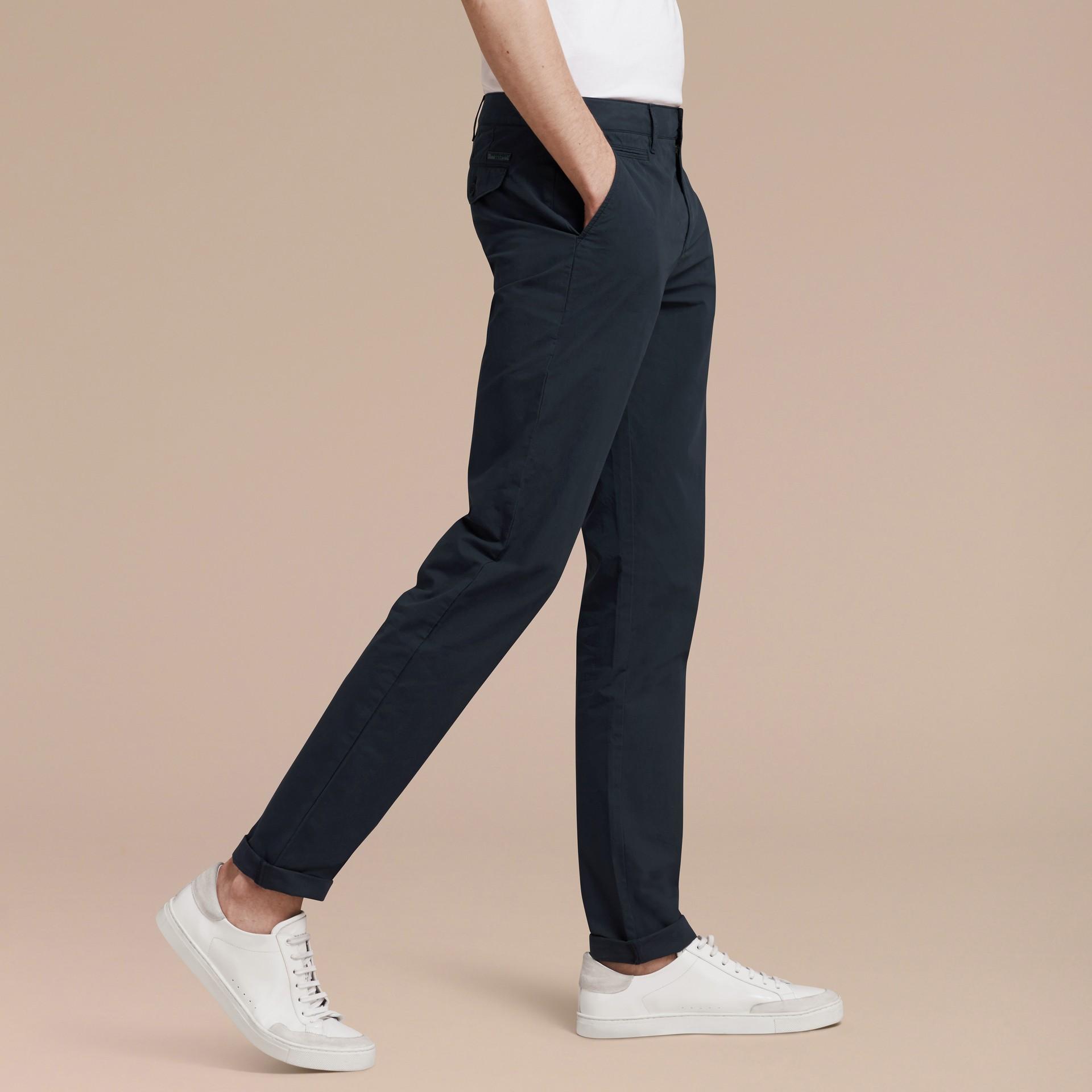 Slim Fit Cotton Poplin Chinos Indigo - gallery image 6