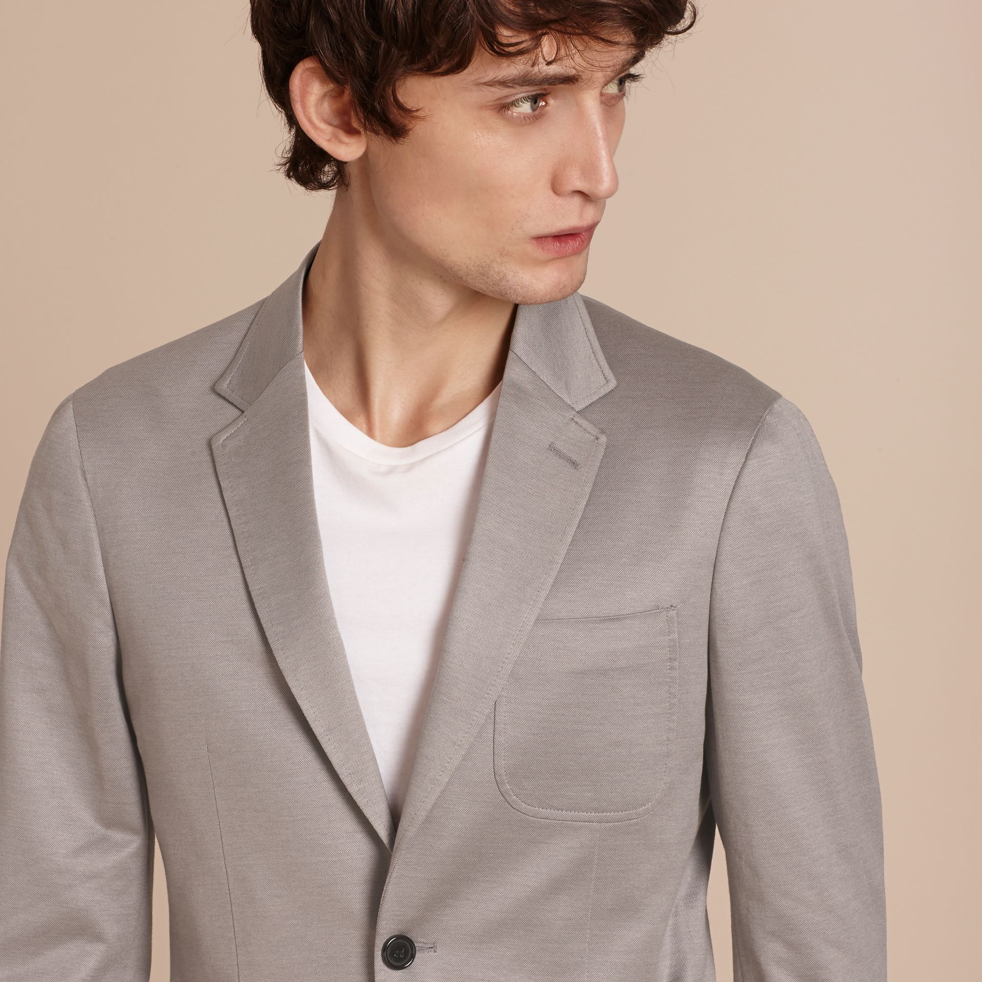 Mid grey melange Slim Fit Tailored Cotton Jacket Mid Grey Melange - gallery image 5