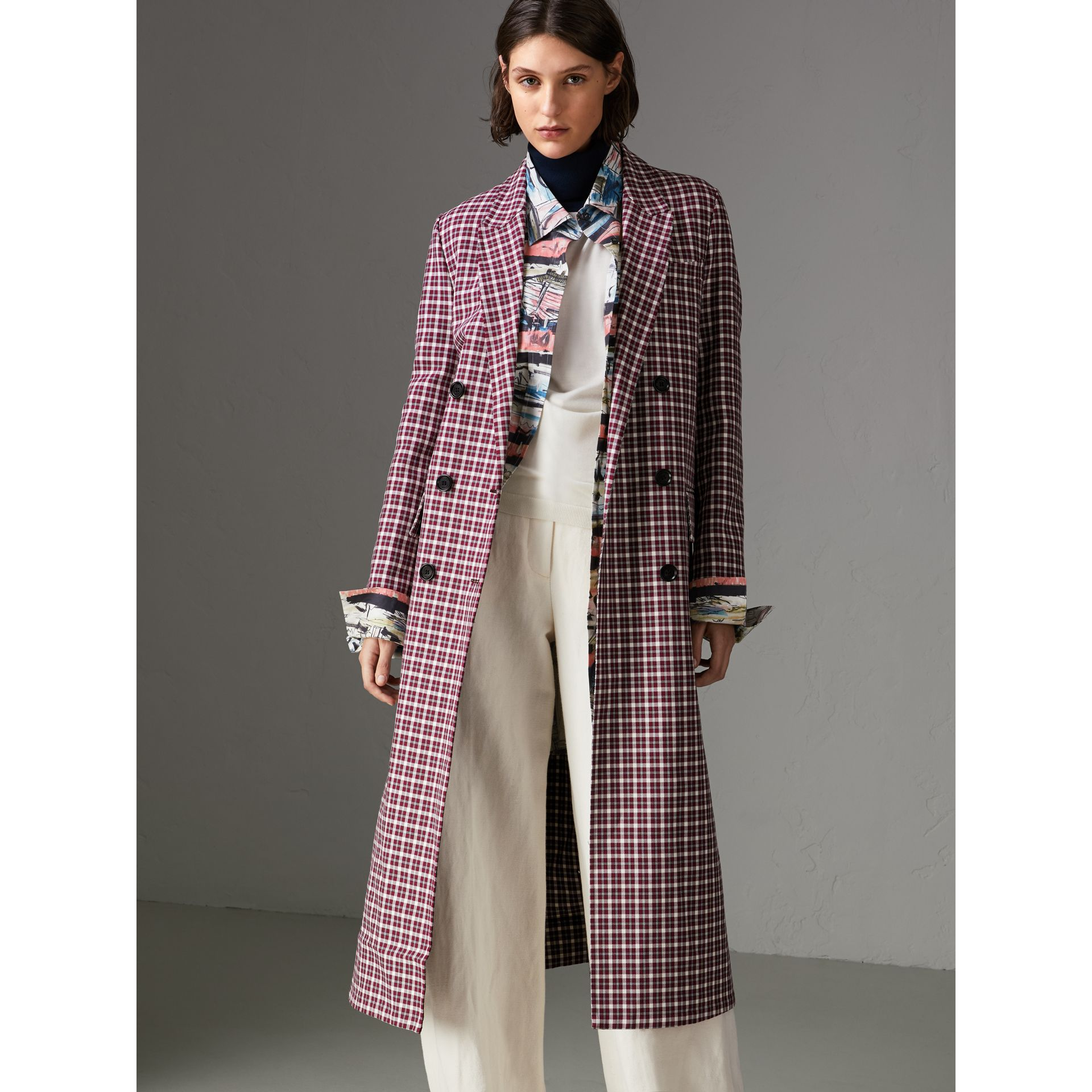 Double-faced Cotton Twill Tailored Coat in Burgundy - Women | Burberry - gallery image 5
