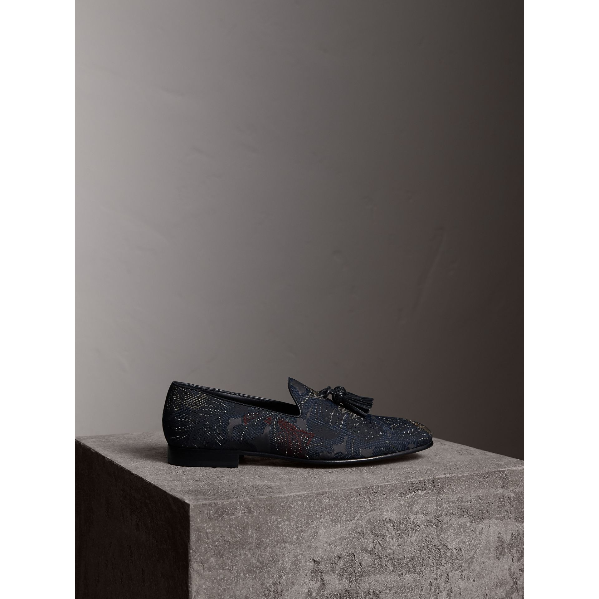 Tasselled Beasts Jacquard Loafers in Navy Grey - Men | Burberry - gallery image 4