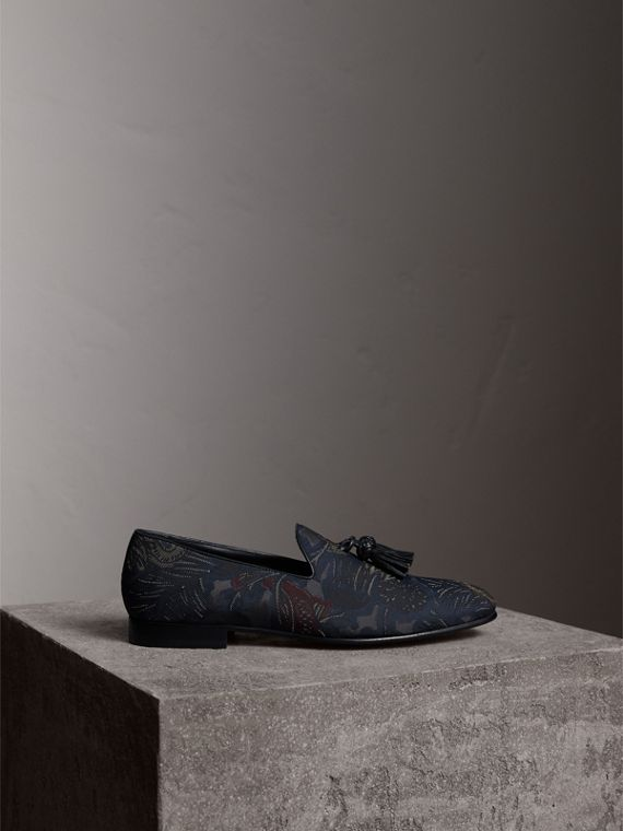 Tasselled Beasts Jacquard Loafers in Navy Grey - Men | Burberry - cell image 3
