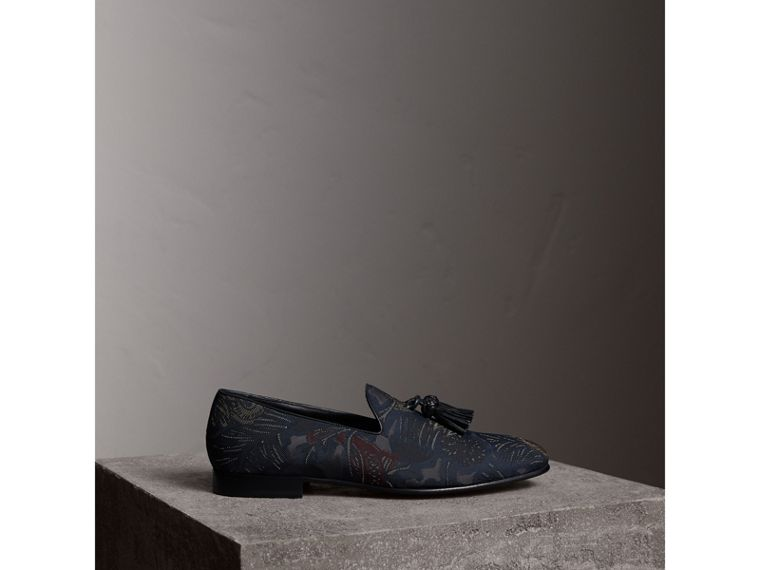 Tasselled Beasts Jacquard Loafers in Navy Grey - Men | Burberry - cell image 4