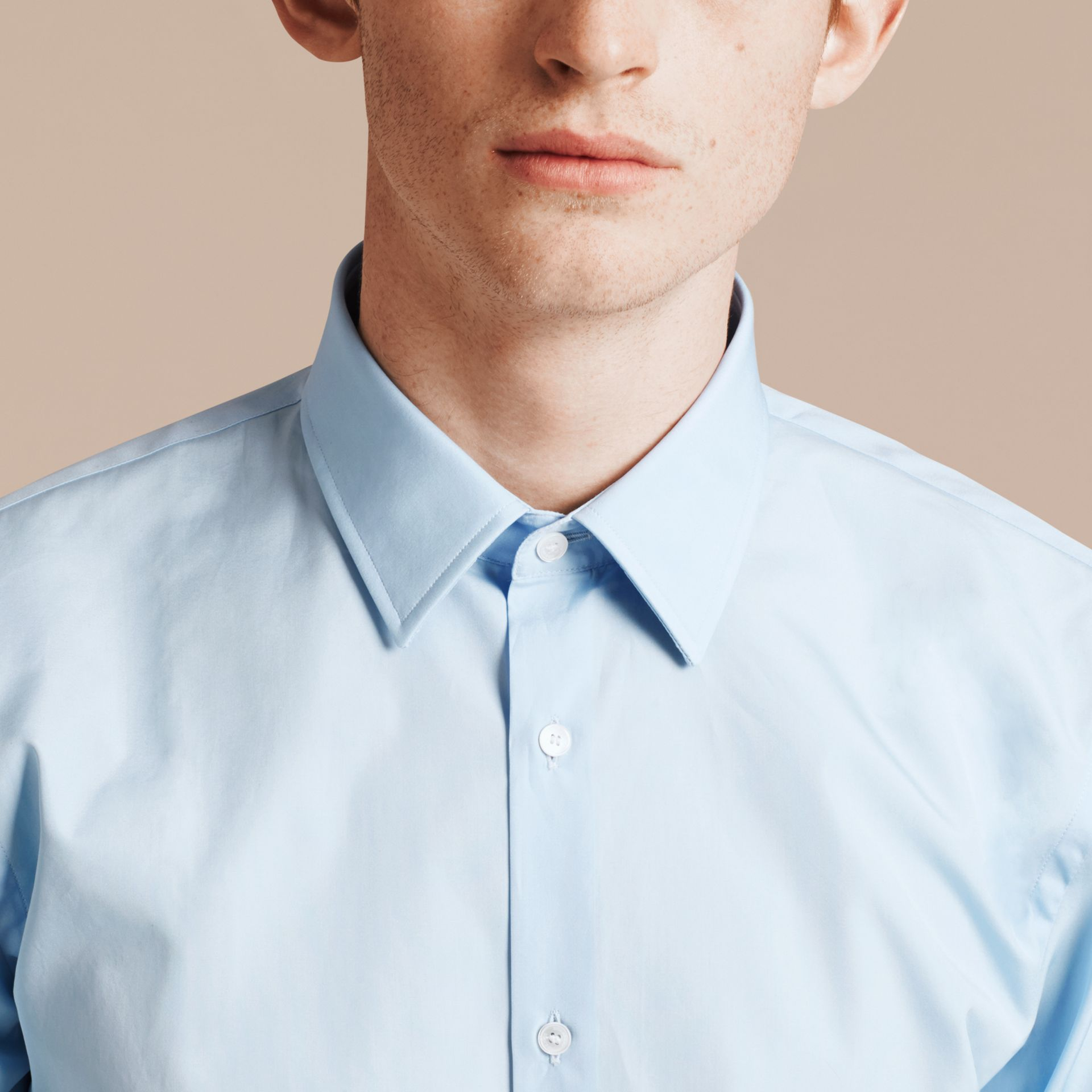Slim Fit Cotton Poplin Shirt in City Blue - Men | Burberry Singapore - gallery image 5