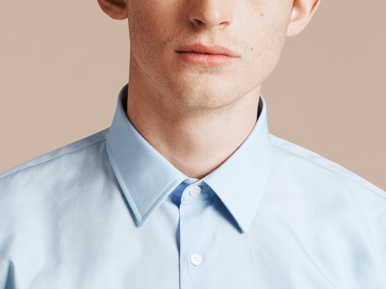 Slim Fit Cotton Poplin Shirt in City Blue - Men | Burberry Singapore - cell image 4