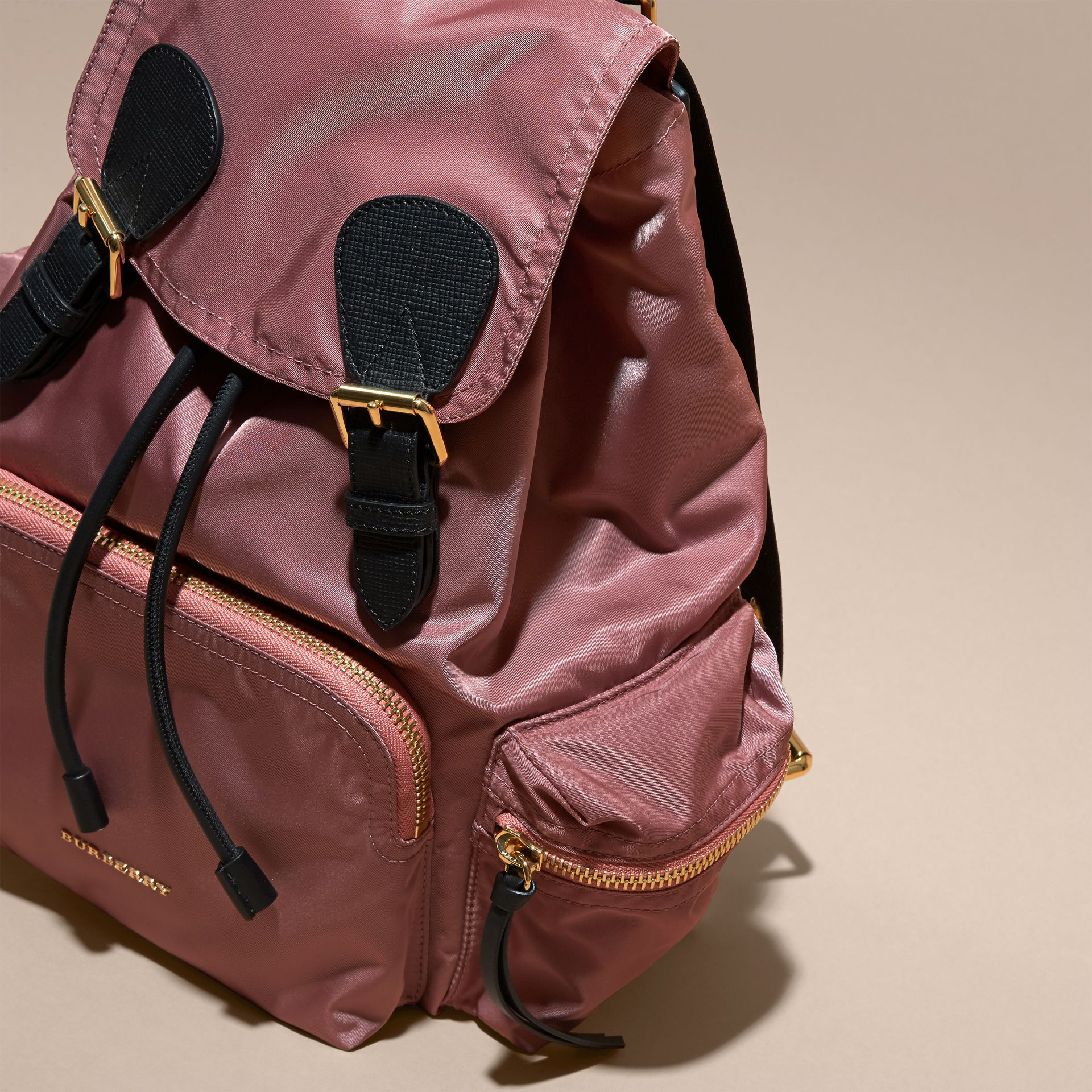 The Medium Rucksack in Technical Nylon and Leather Mauve Pink - gallery image 8
