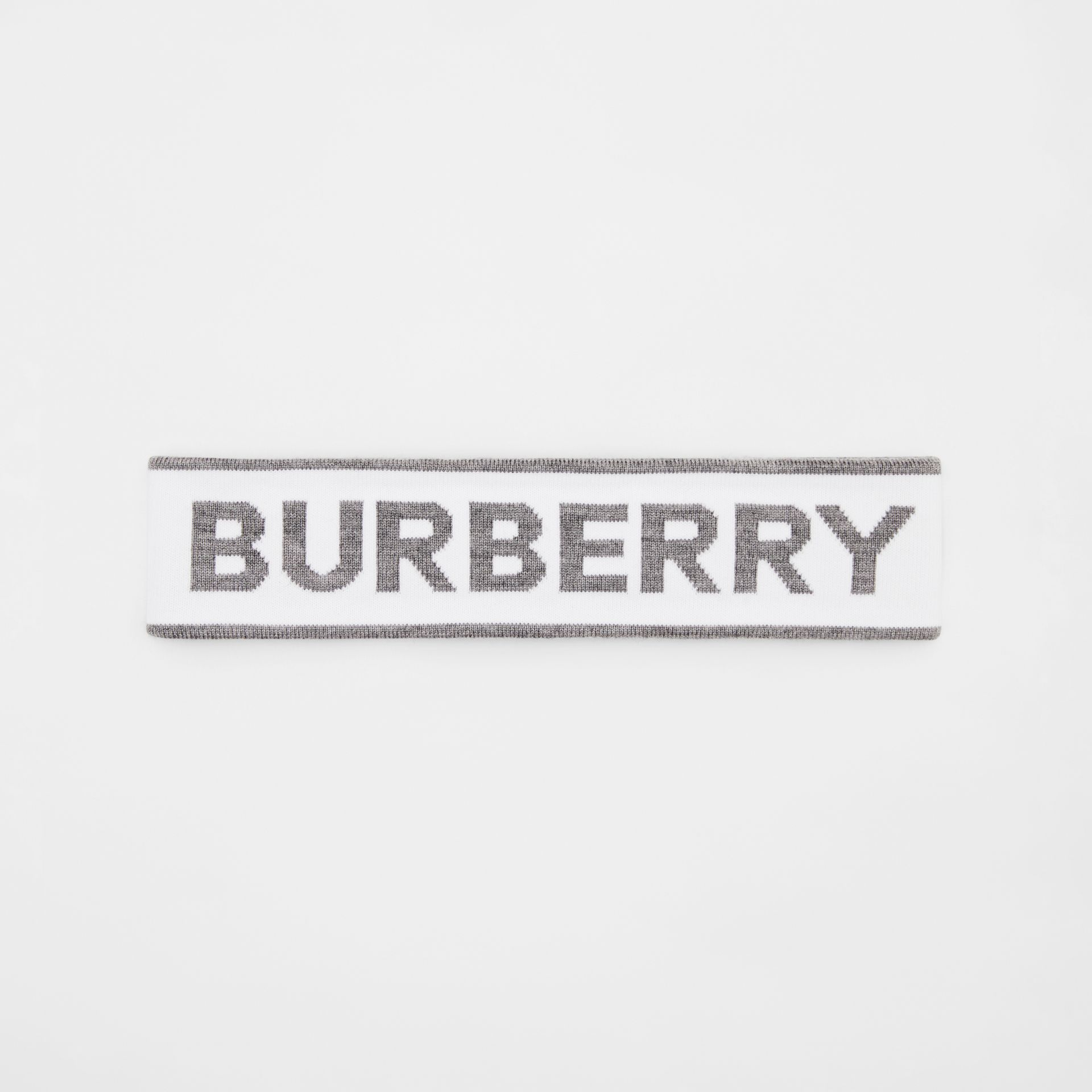 Logo Intarsia Wool Blend Headband in White/mid Grey | Burberry United States - gallery image 5
