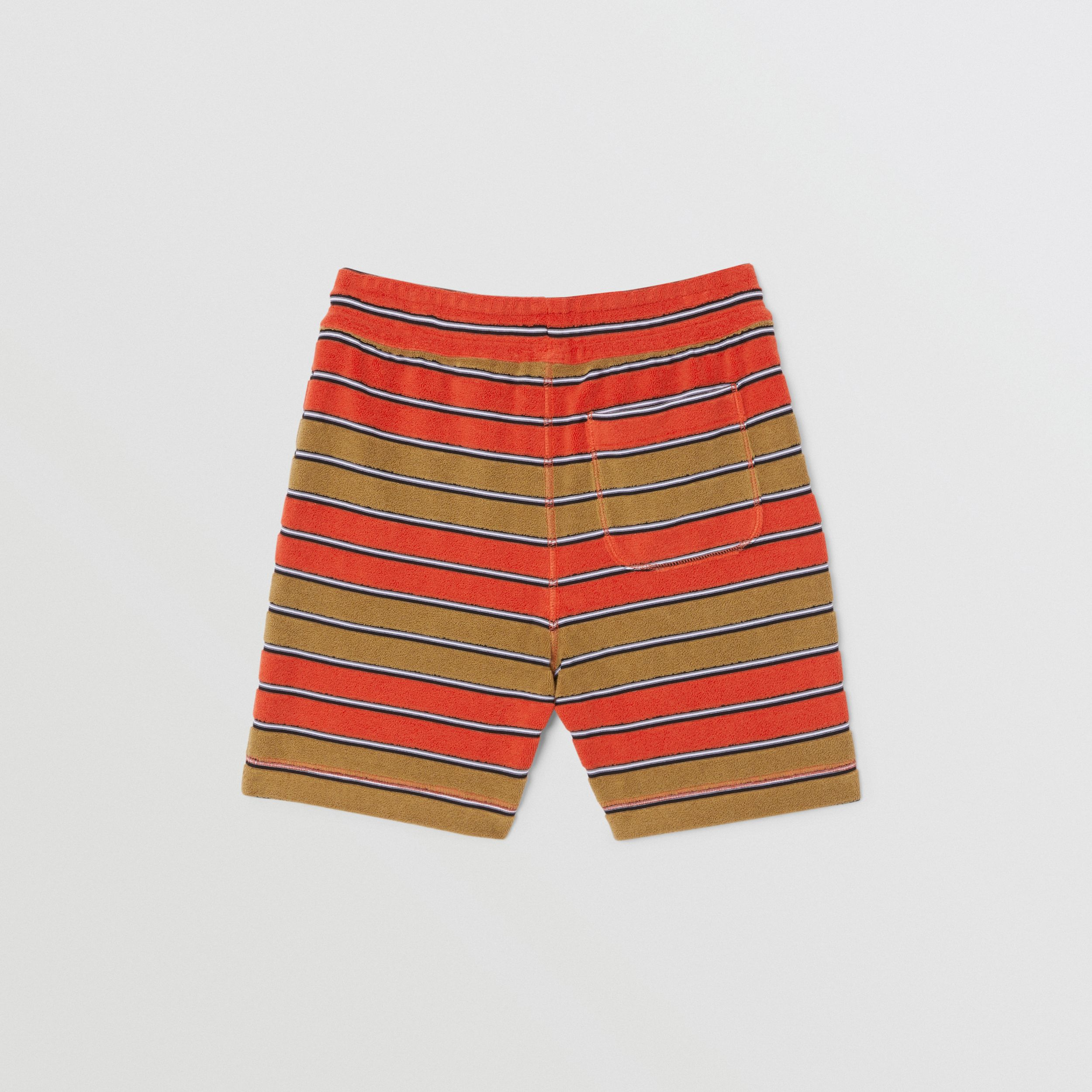 Logo Appliqué Striped Towelling Shorts in Vermilion Red | Burberry - 4