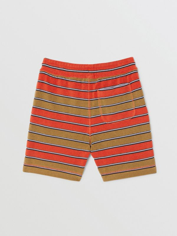 Logo Appliqué Striped Towelling Shorts in Vermilion Red | Burberry - cell image 3