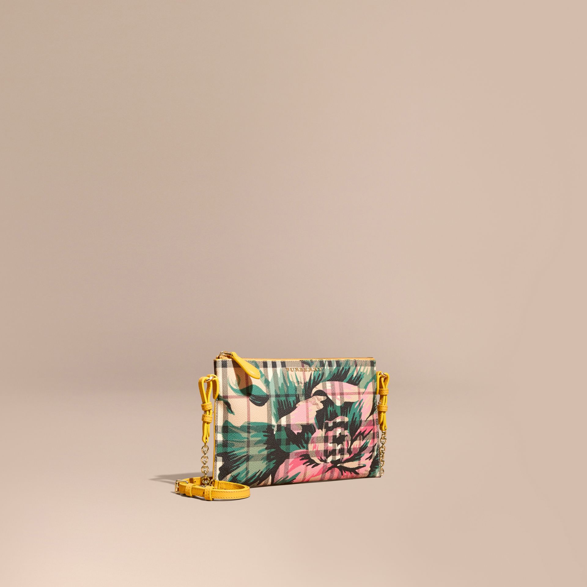 Peony Rose Print Haymarket Check and Leather Clutch Bag in Larch Yellow/emerald Green - gallery image 1