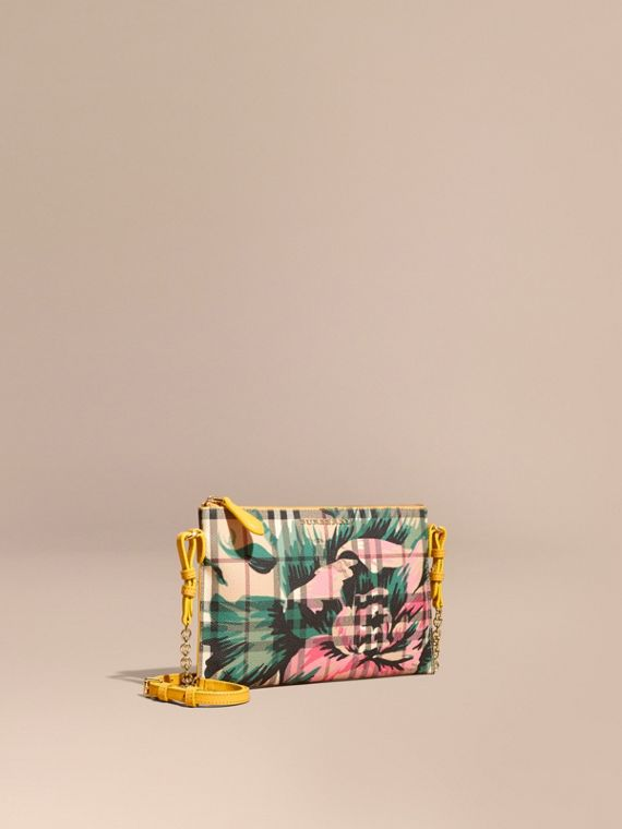 Peony Rose Print Haymarket Check and Leather Clutch Bag Larch Yellow/emerald Green