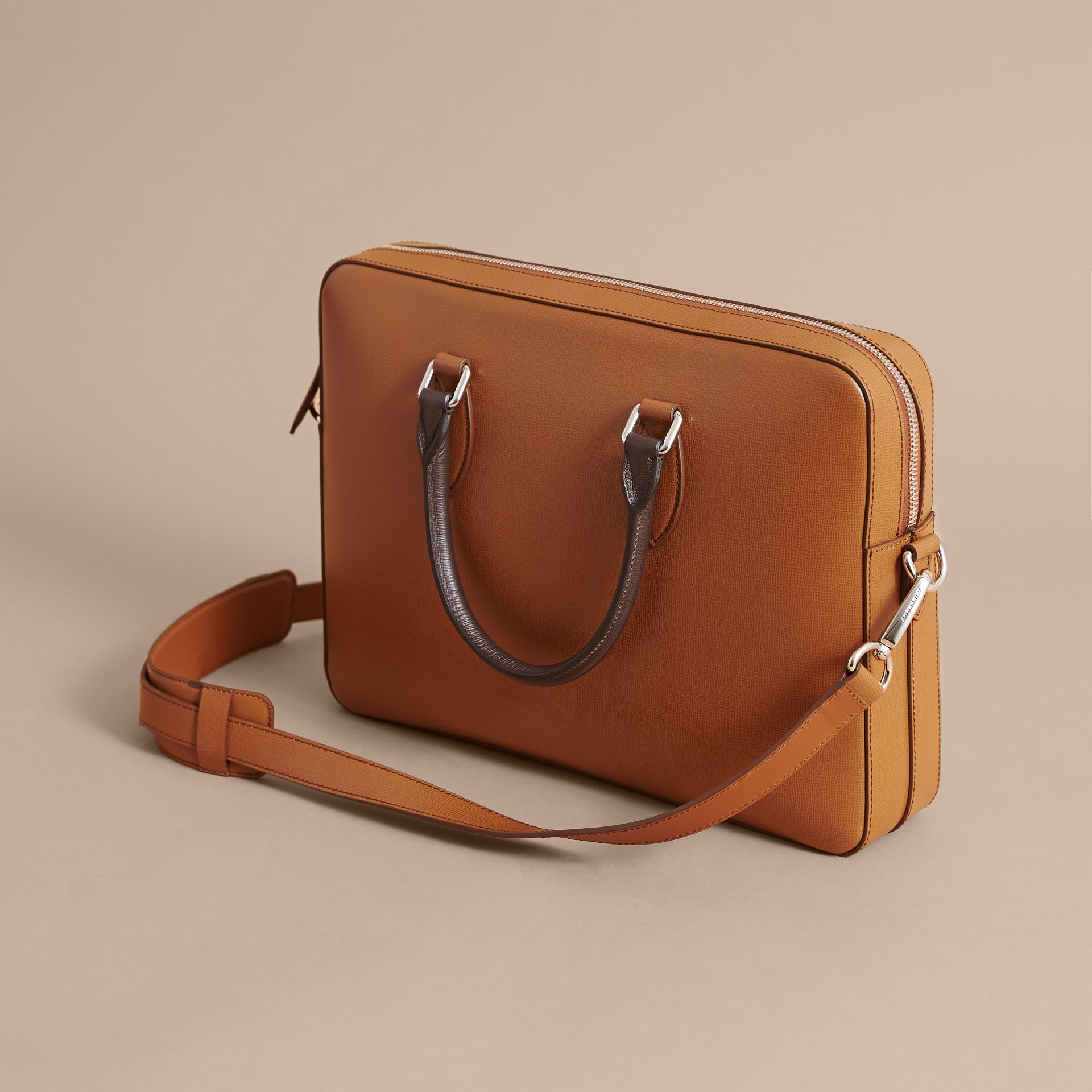 London Leather Briefcase in Tan/chocolate - Men | Burberry United Kingdom - gallery image 5