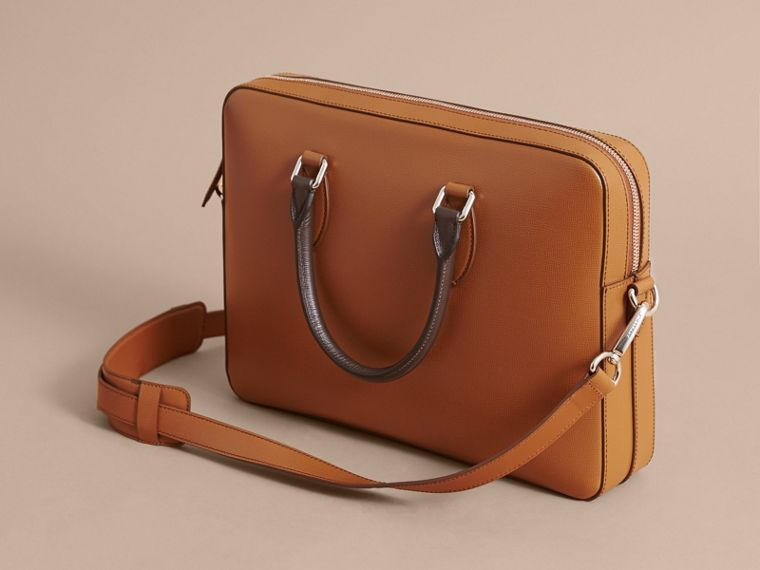 London Leather Briefcase in Tan/chocolate - Men | Burberry - cell image 4