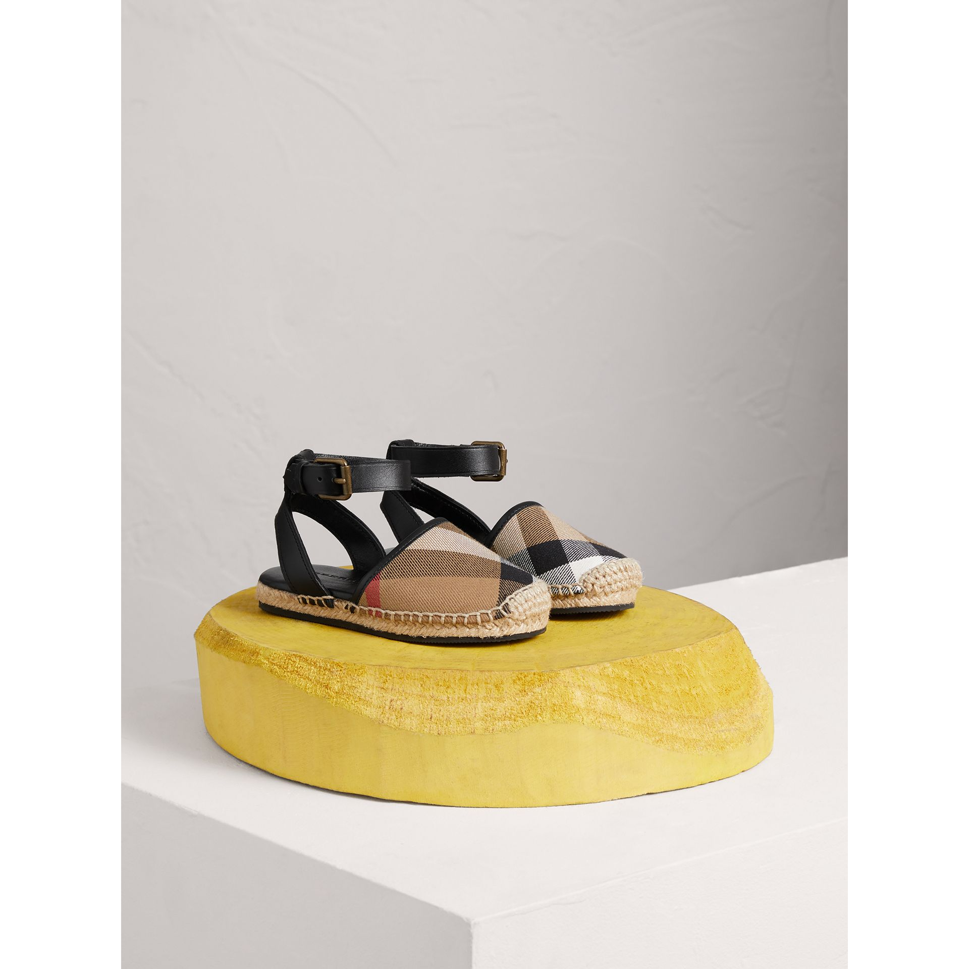House Check and Leather Espadrille Sandals in Black | Burberry - gallery image 1