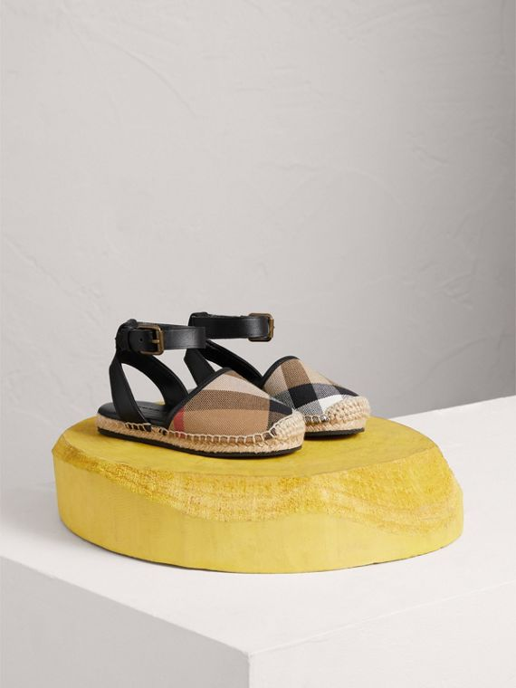 House Check and Leather Espadrille Sandals in Black