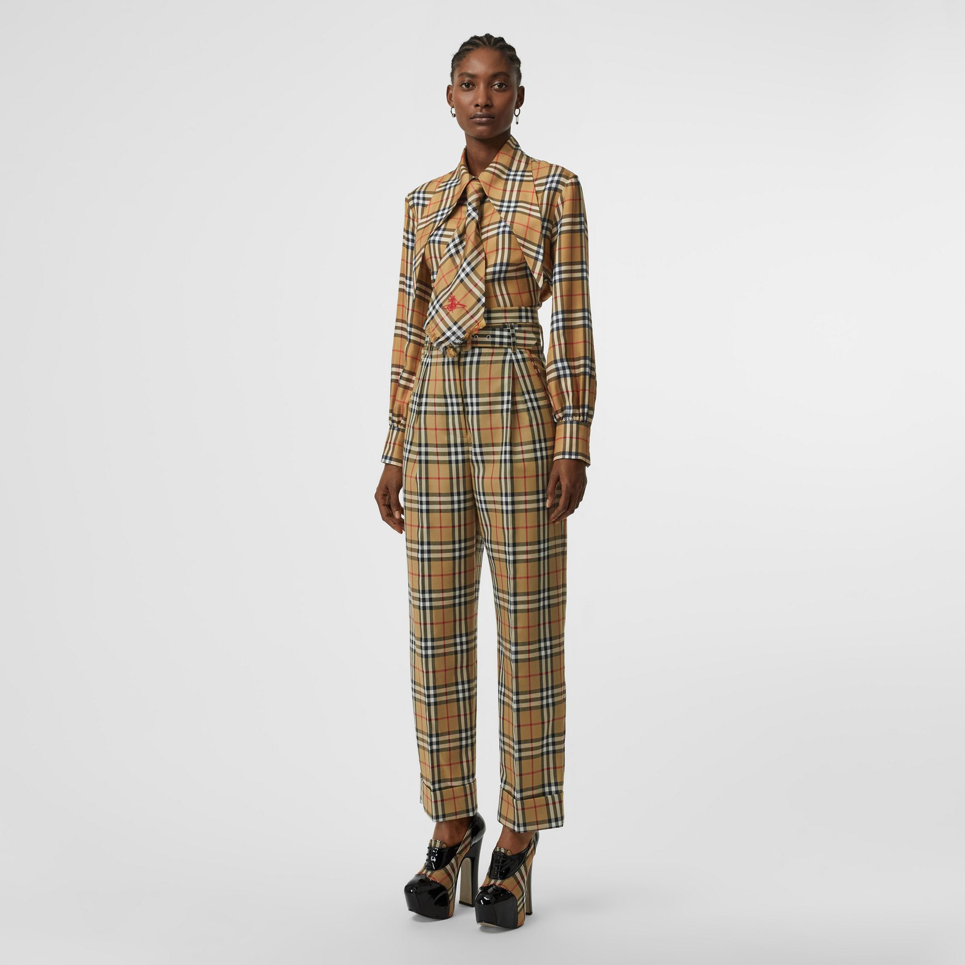 Vintage Check Wool High-waisted Trousers in Antique Yellow - Women | Burberry - gallery image 0