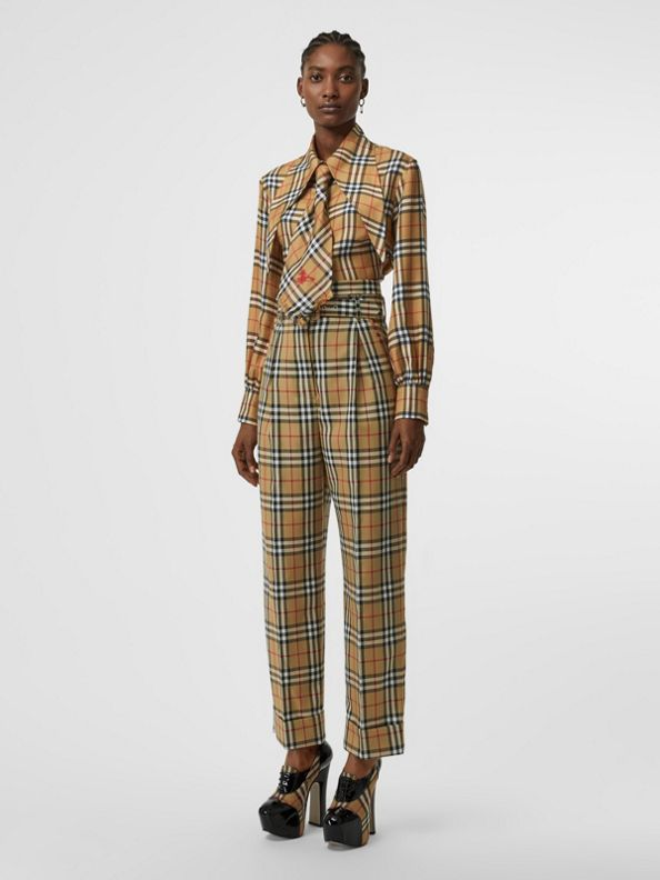 Vintage Check Wool High-waisted Trousers in Antique Yellow