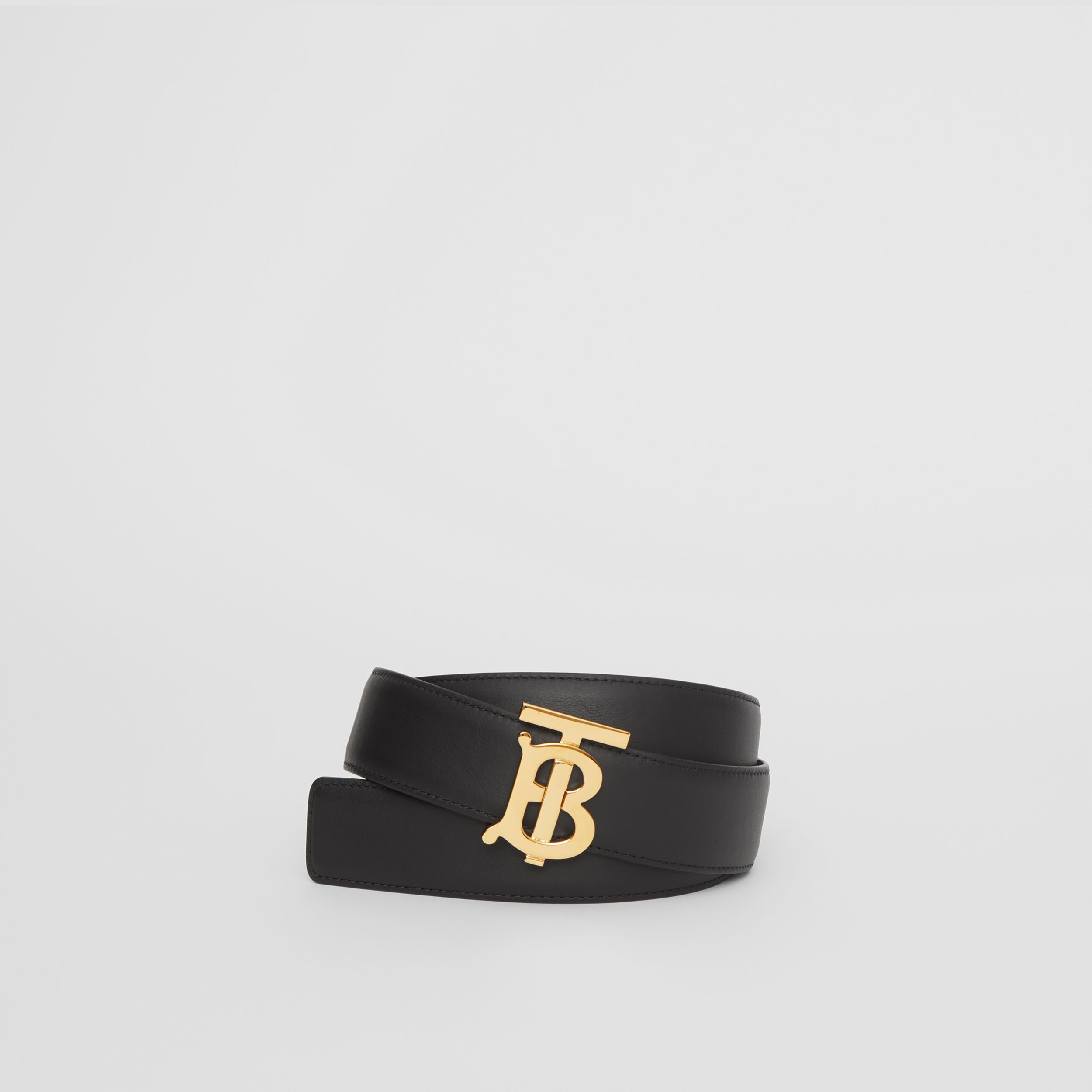 Reversible Monogram Motif Leather Belt in Black/malt Brown - Women | Burberry - 1