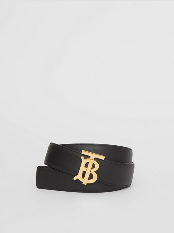 Reversible Monogram Motif Leather Belt in Black/malt Brown