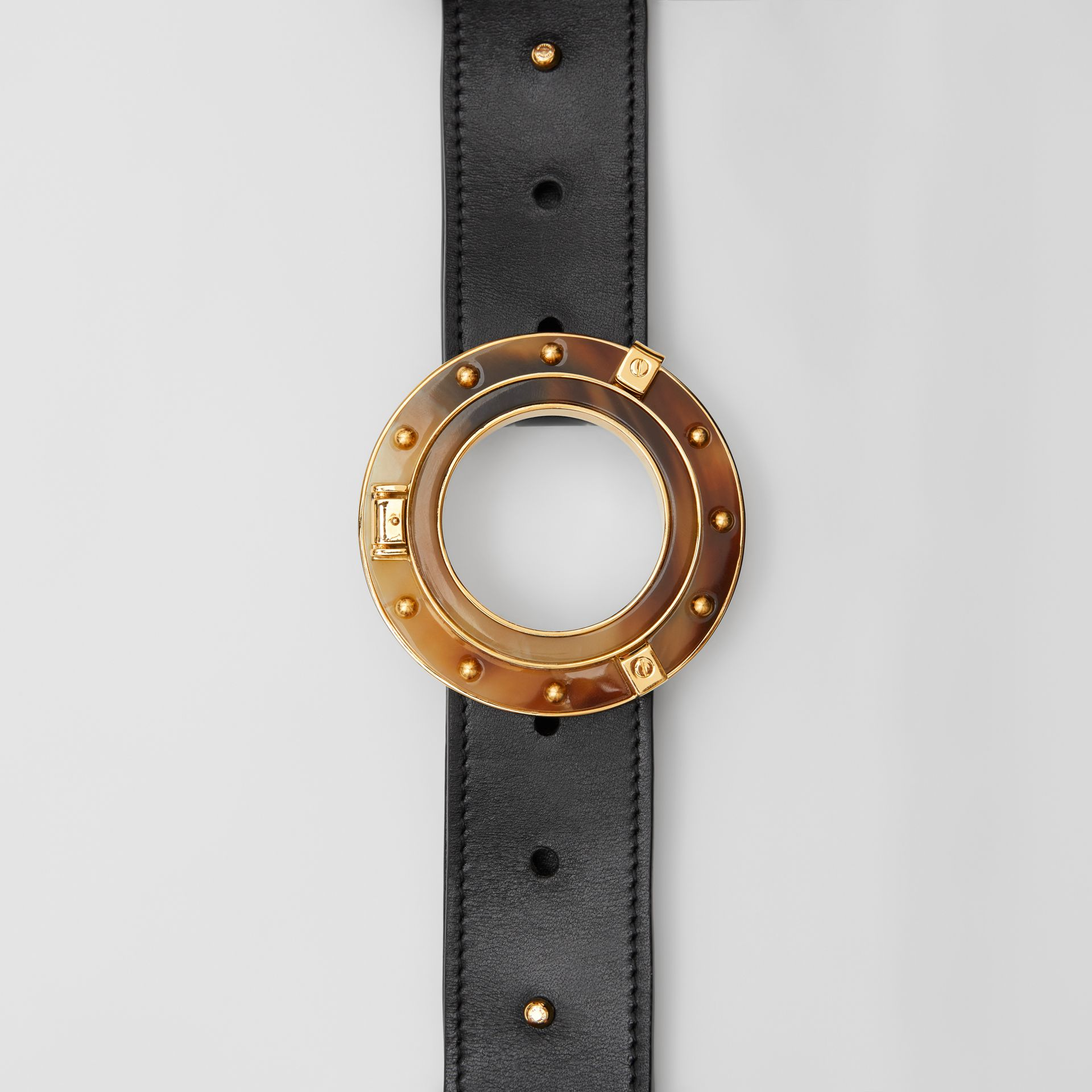 Porthole Buckle Leather Belt in Black - Women | Burberry - gallery image 1