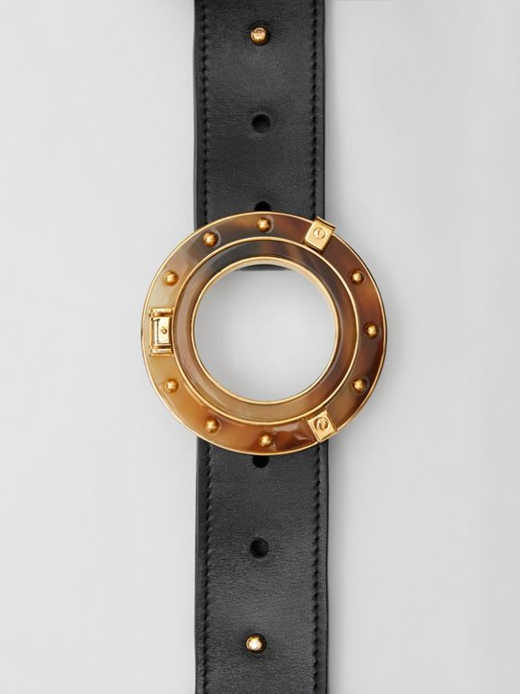 Porthole Buckle Leather Belt in Black - Women | Burberry - cell image 1