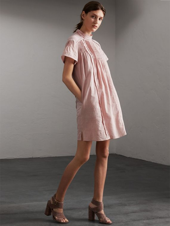 Pintuck Pleated Linen Cotton Dress in Thistle Pink - Women | Burberry - cell image 3