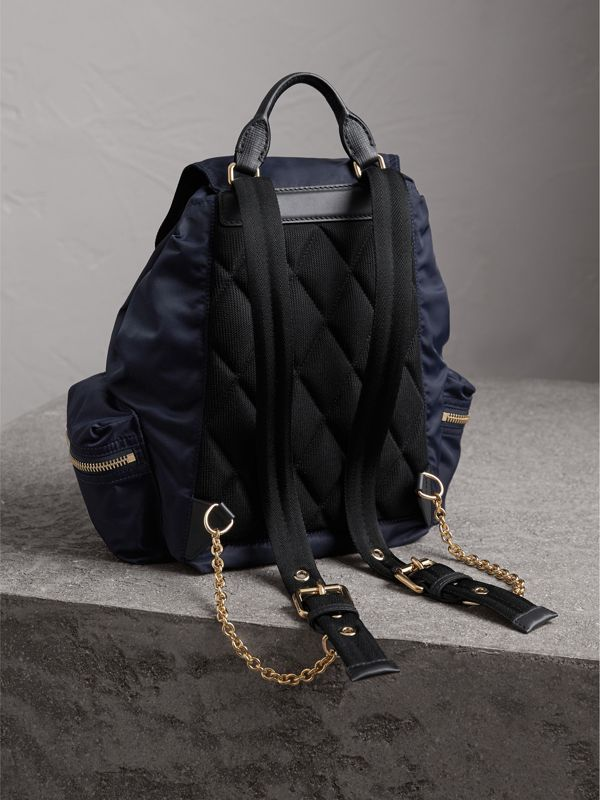 The Medium Rucksack in Technical Nylon and Leather in Ink Blue - Women | Burberry Hong Kong - cell image 3