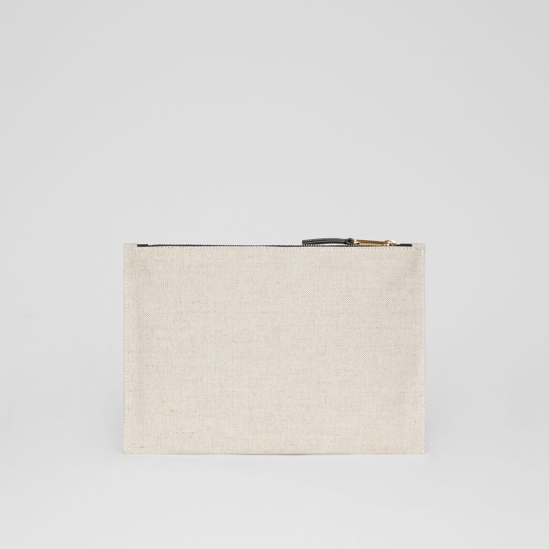 Logo Cotton Canvas Pouch in Natural | Burberry - gallery image 8
