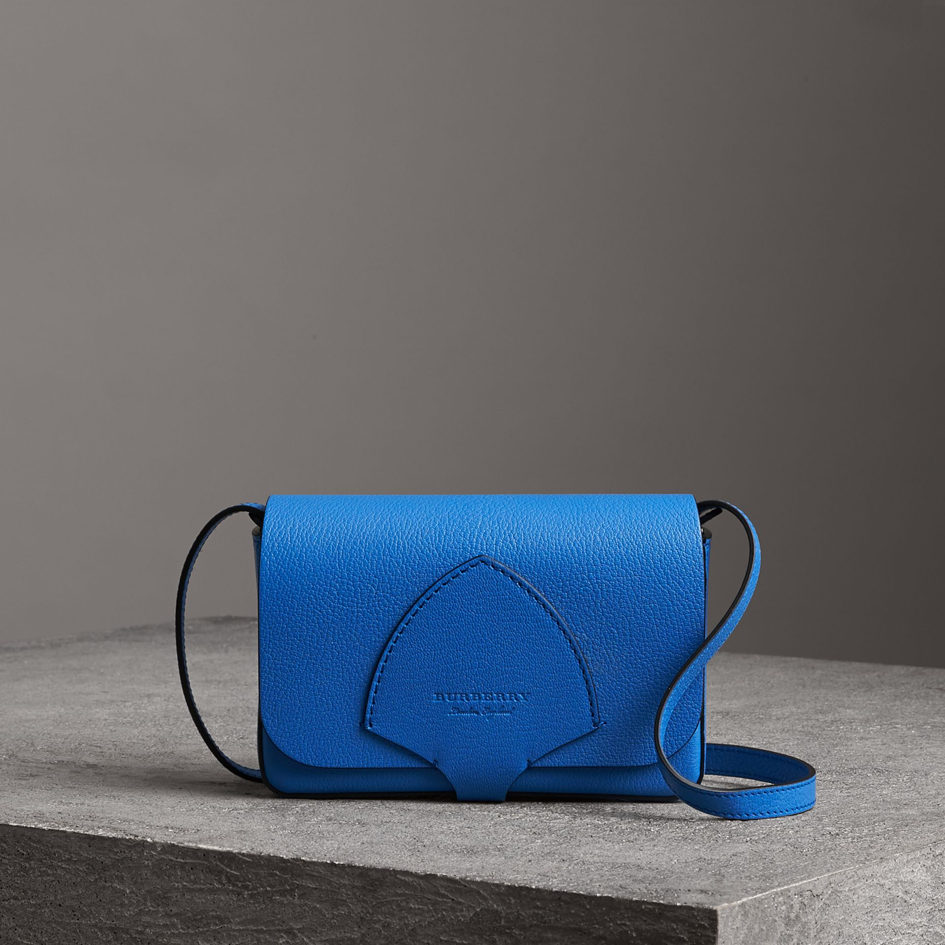 Equestrian Shield Leather Wallet with Detachable Strap in Hydrangea Blue - Women | Burberry Singapore - gallery image 0