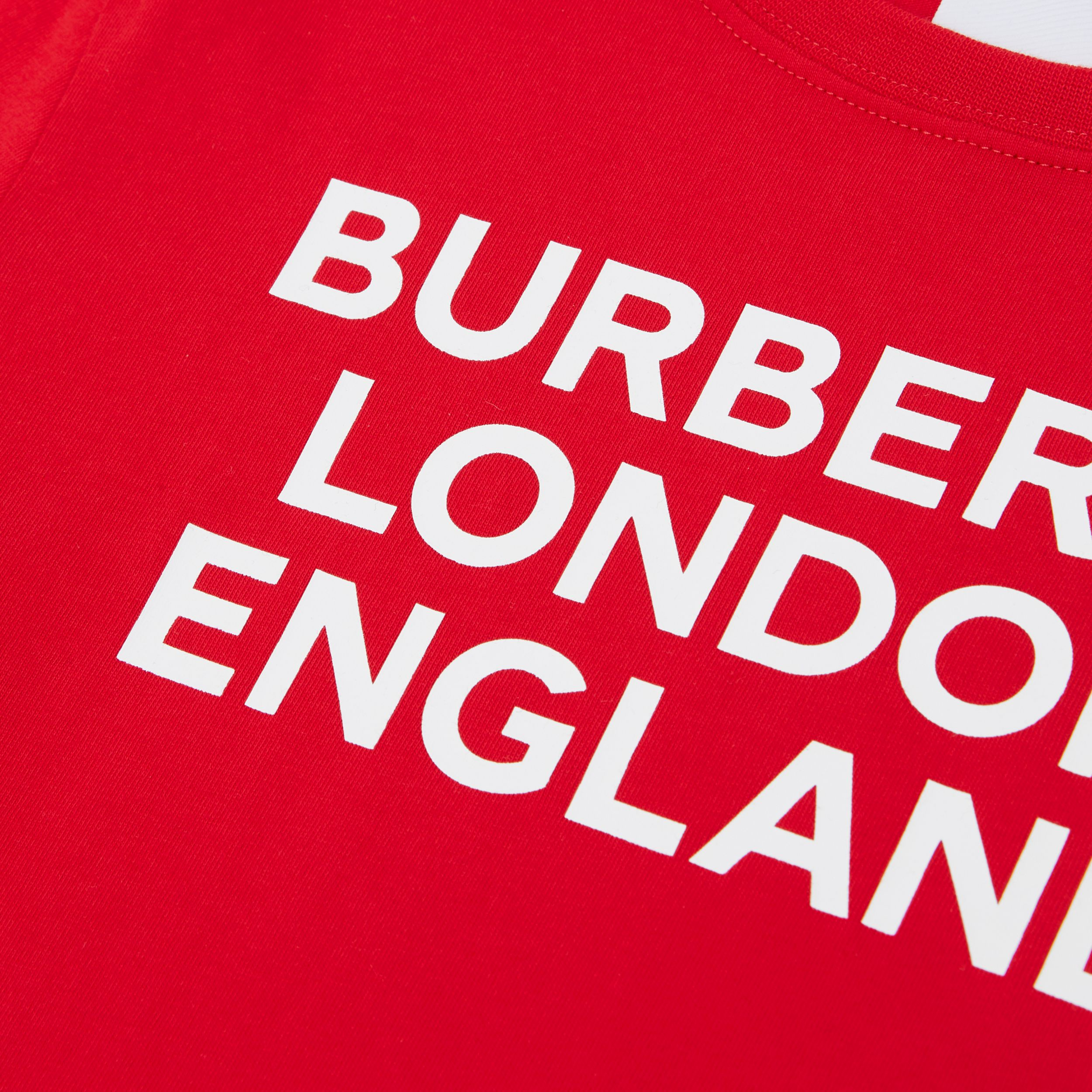 Logo Print Cotton T-shirt in Bright Red | Burberry - 2