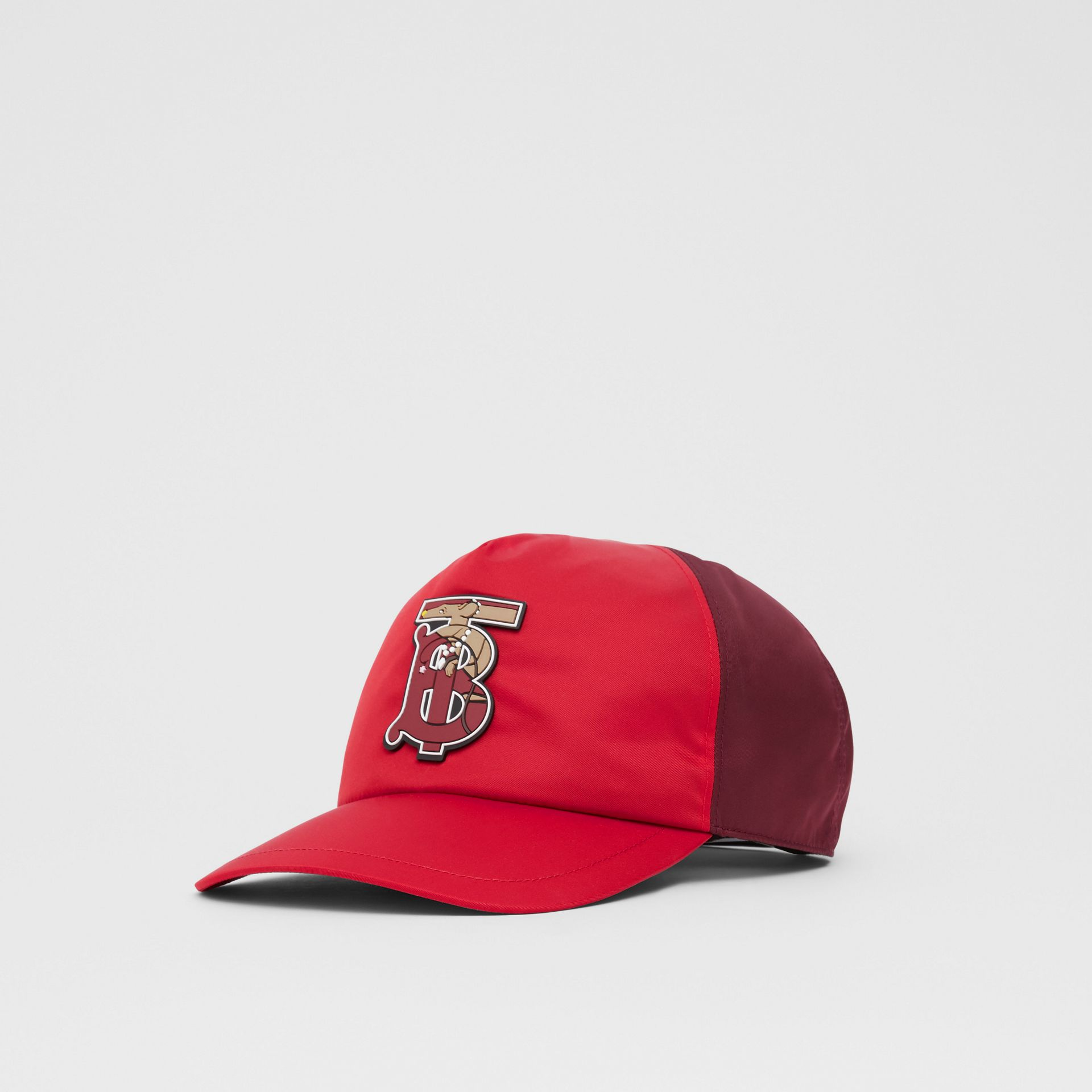 Monogram Motif Two-tone Baseball Cap in Bright Red | Burberry - gallery image 5
