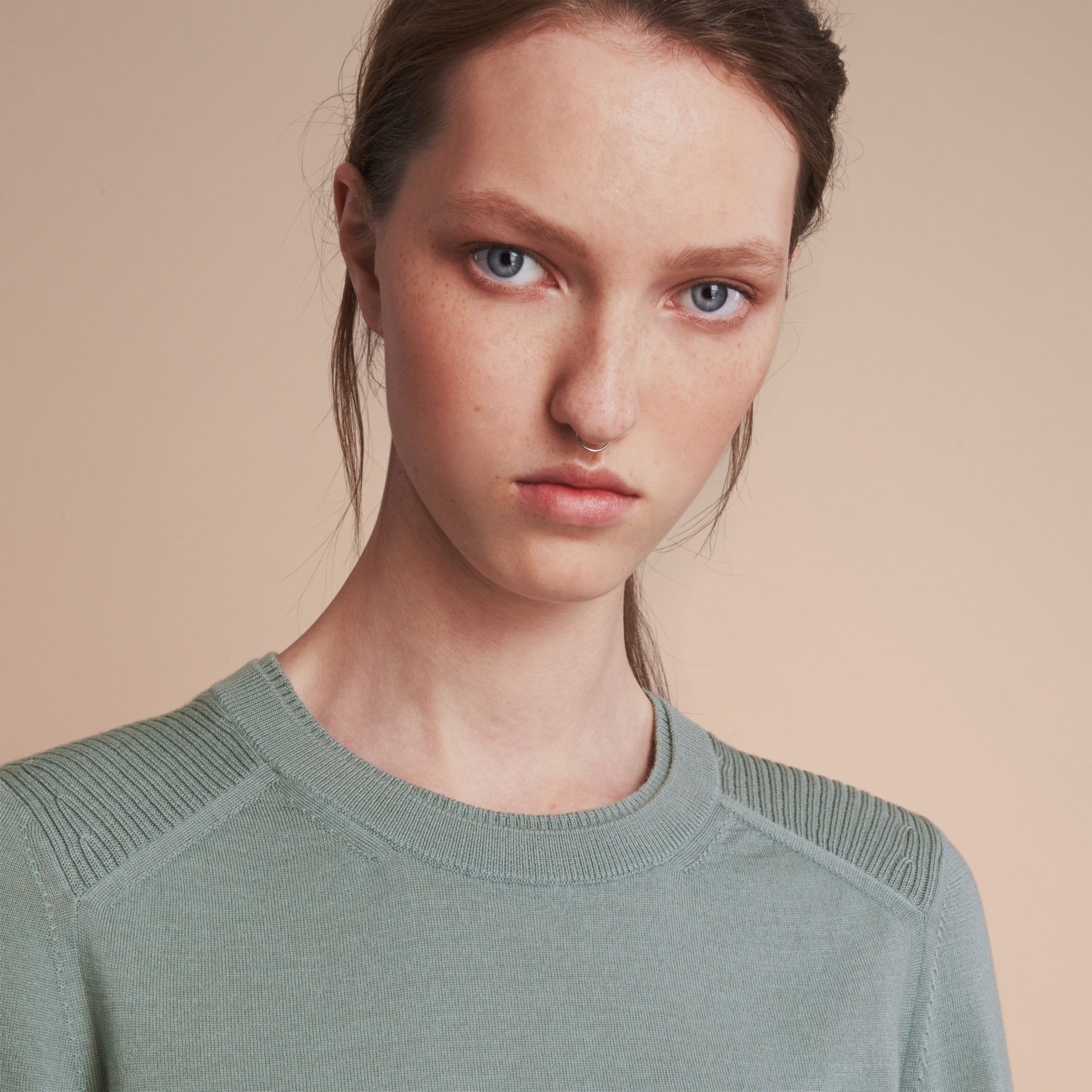 Check Detail Merino Wool Sweater in Pale Eucalyptus - Women | Burberry - gallery image 6