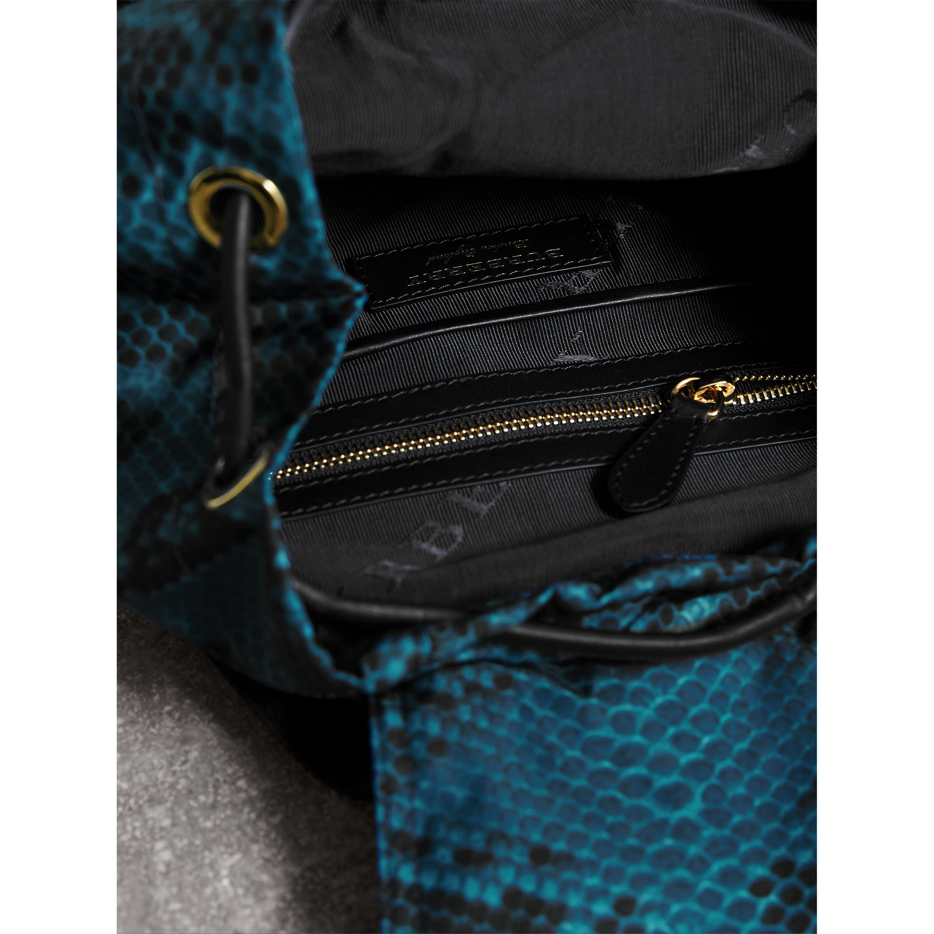 The Medium Rucksack in Python Print Nylon and Leather in Blue - gallery image 5
