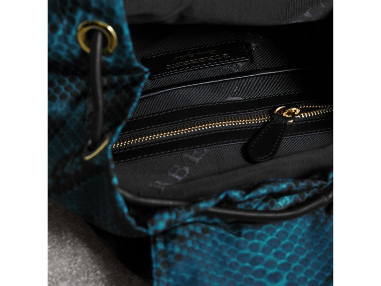 The Medium Rucksack in Python Print Nylon and Leather in Blue - cell image 4