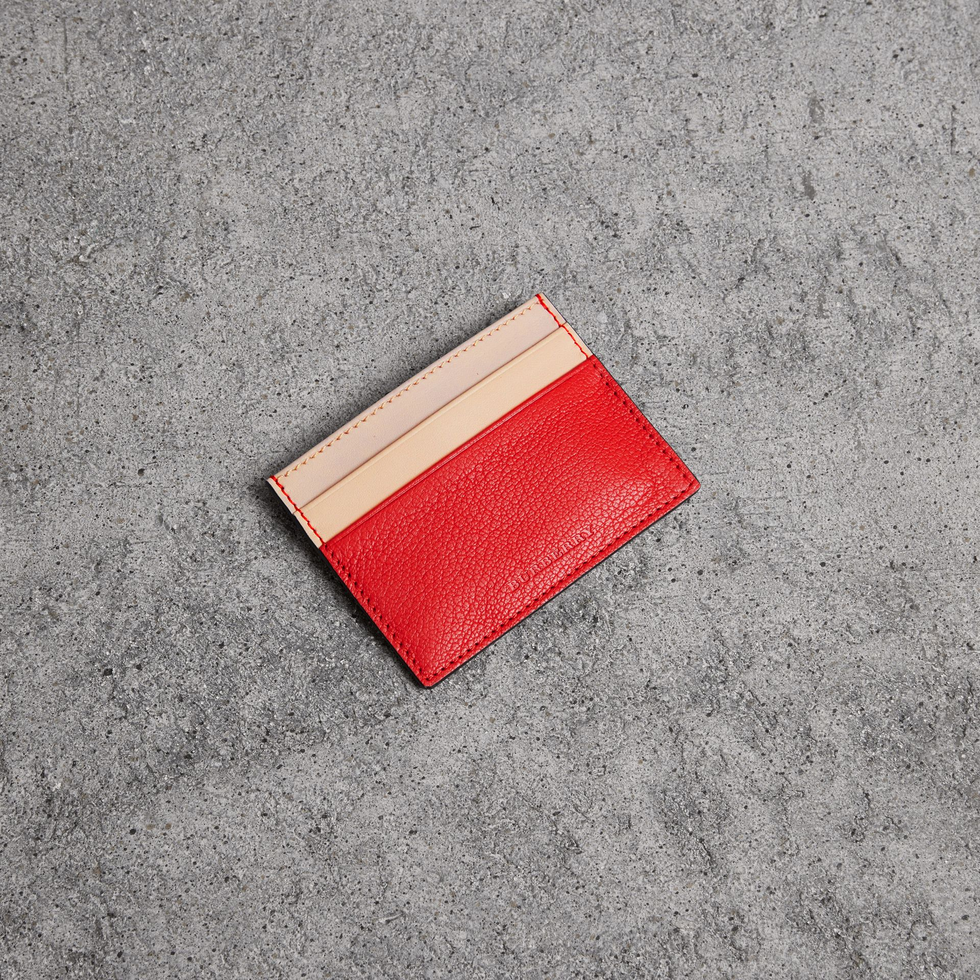 Two-tone Leather Card Case in Bright Red | Burberry - gallery image 0
