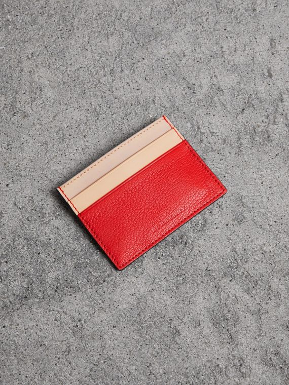 Two-tone Leather Card Case in Bright Red