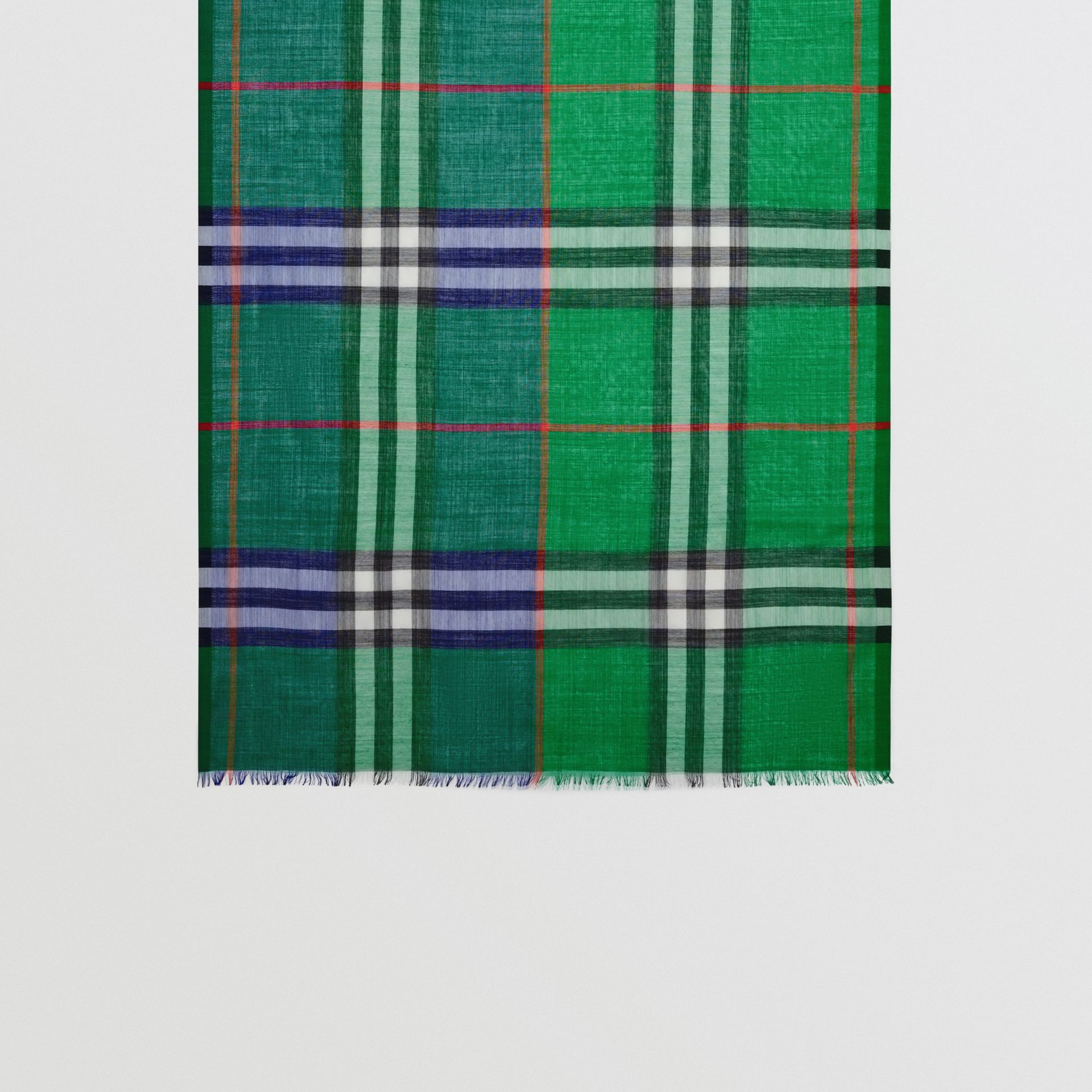 Colour Block Check Wool Silk Scarf in Teal | Burberry - gallery image 2