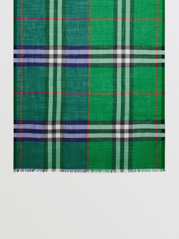Colour Block Check Wool Silk Scarf in Teal | Burberry - cell image 2