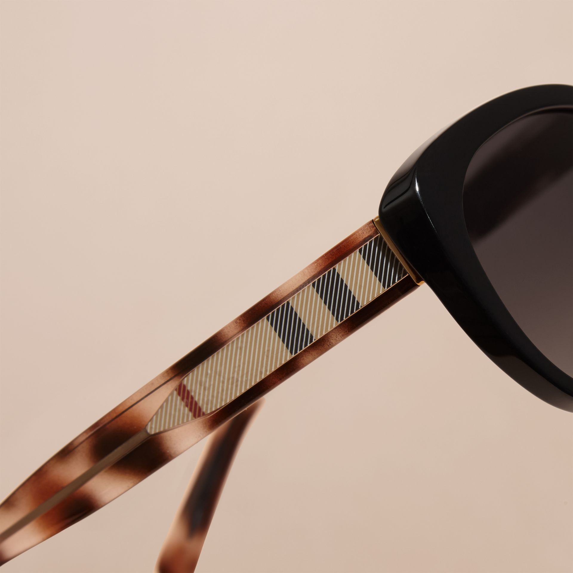 Black Check Detail Cat-eye Polarised Sunglasses - gallery image 2