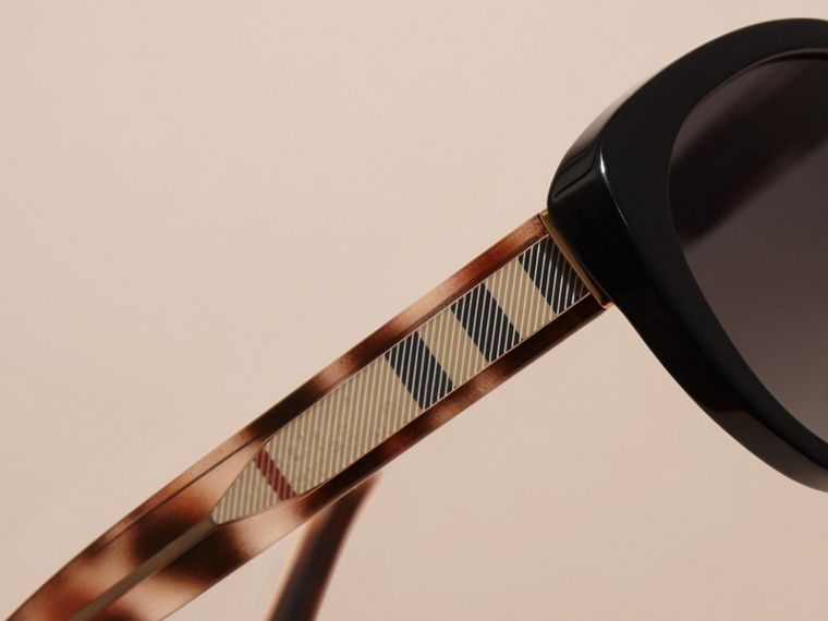 Black Check Detail Cat-eye Polarised Sunglasses - cell image 1