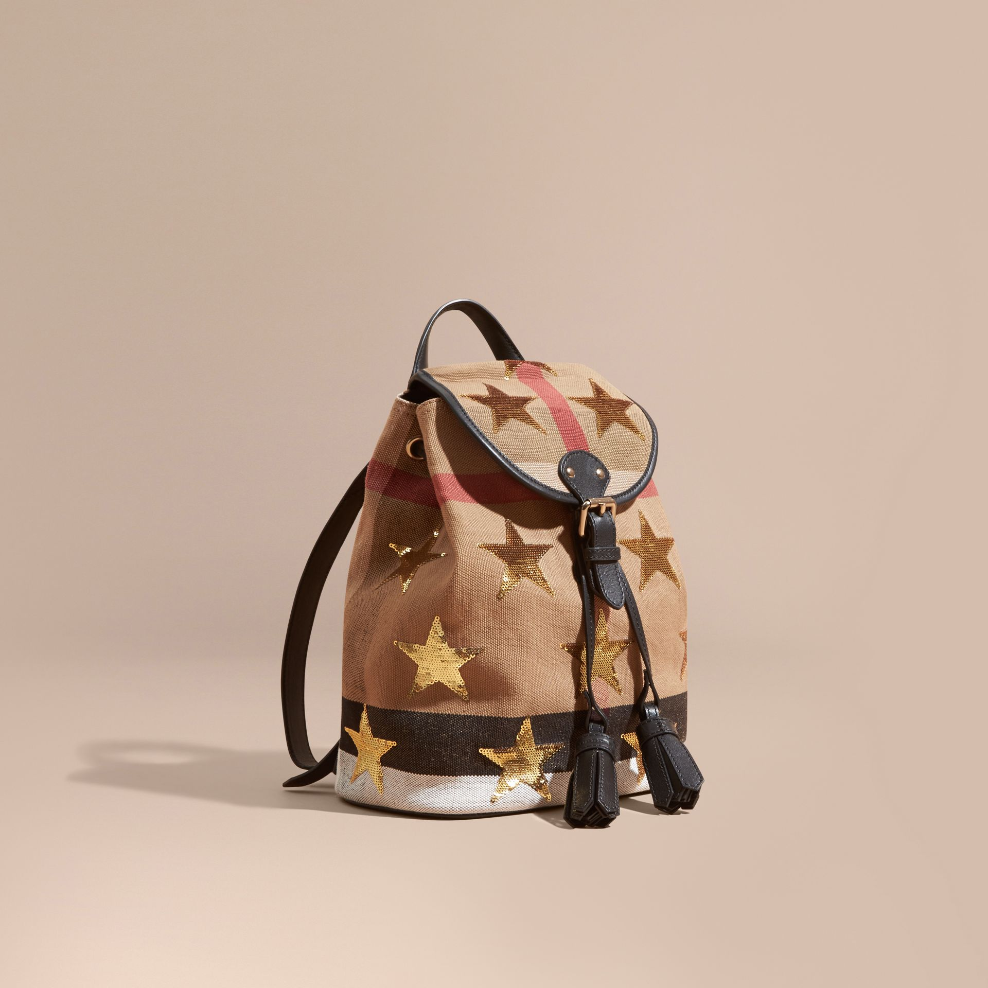 Canvas Check Mini Backpack with Sequin Stars - gallery image 1